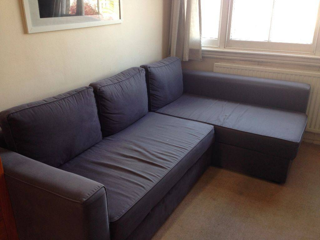 L-Shaped Ikea Manstad Sofa Bed For Sale. Blue/grey Reduced To £150 regarding Manstad Sofa Bed Ikea (Image 12 of 25)