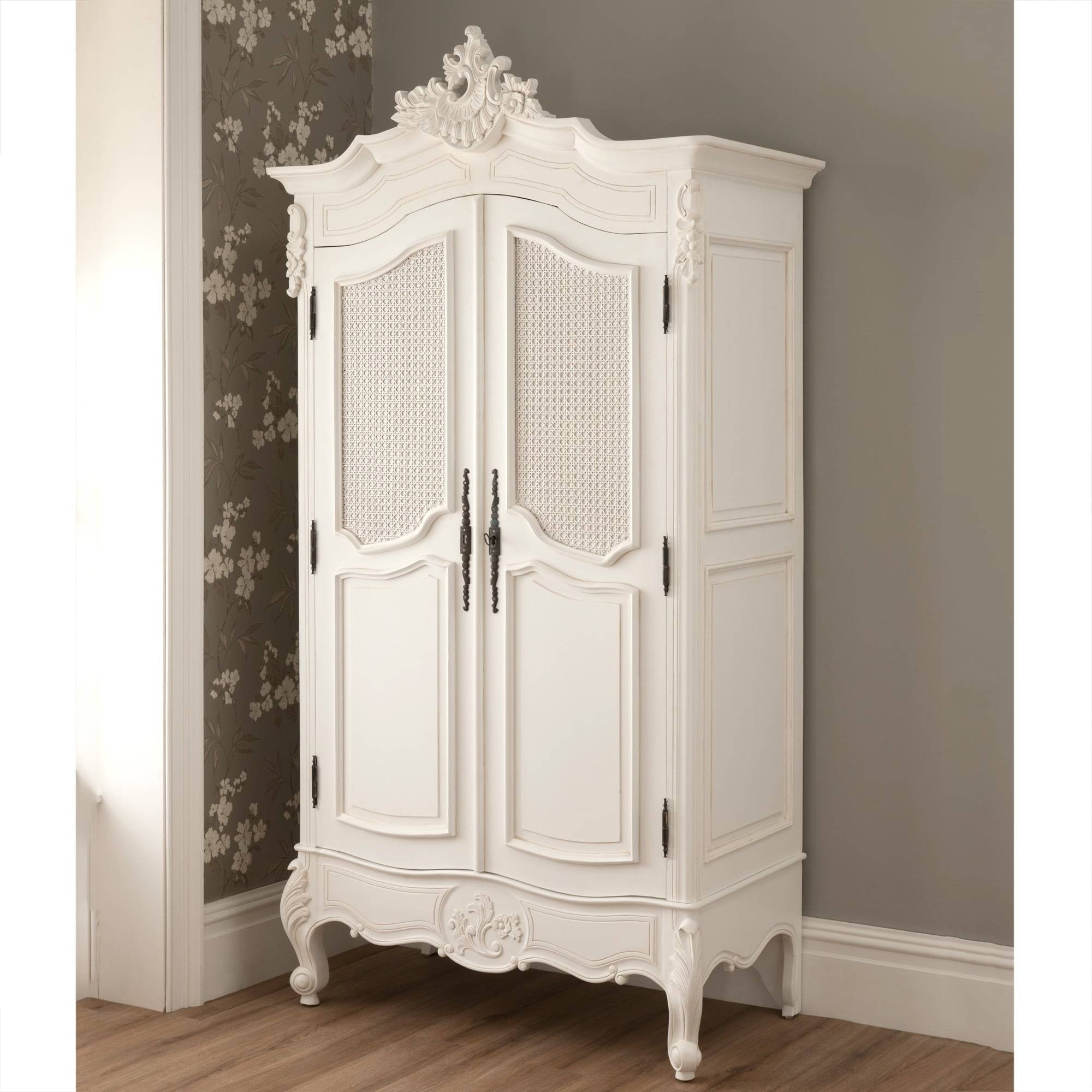 La Rochelle 2 Door Antique French Rattan Wardrobe with regard to White Wicker Wardrobes (Image 9 of 15)