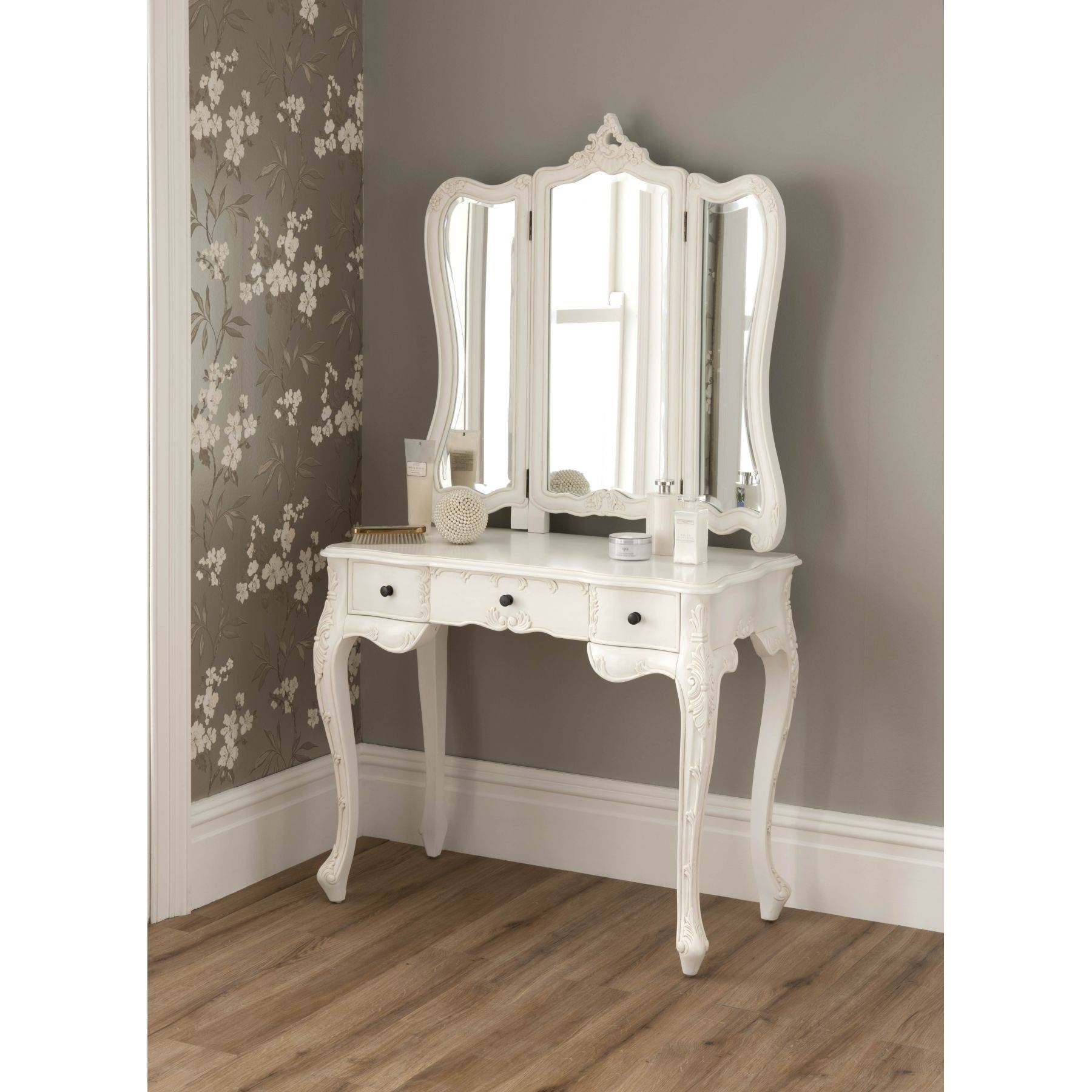 La Rochelle Antique French Dressing Table | Shabby Chic Regarding French Style Dressing Table Mirrors (Photo 7 of 25)