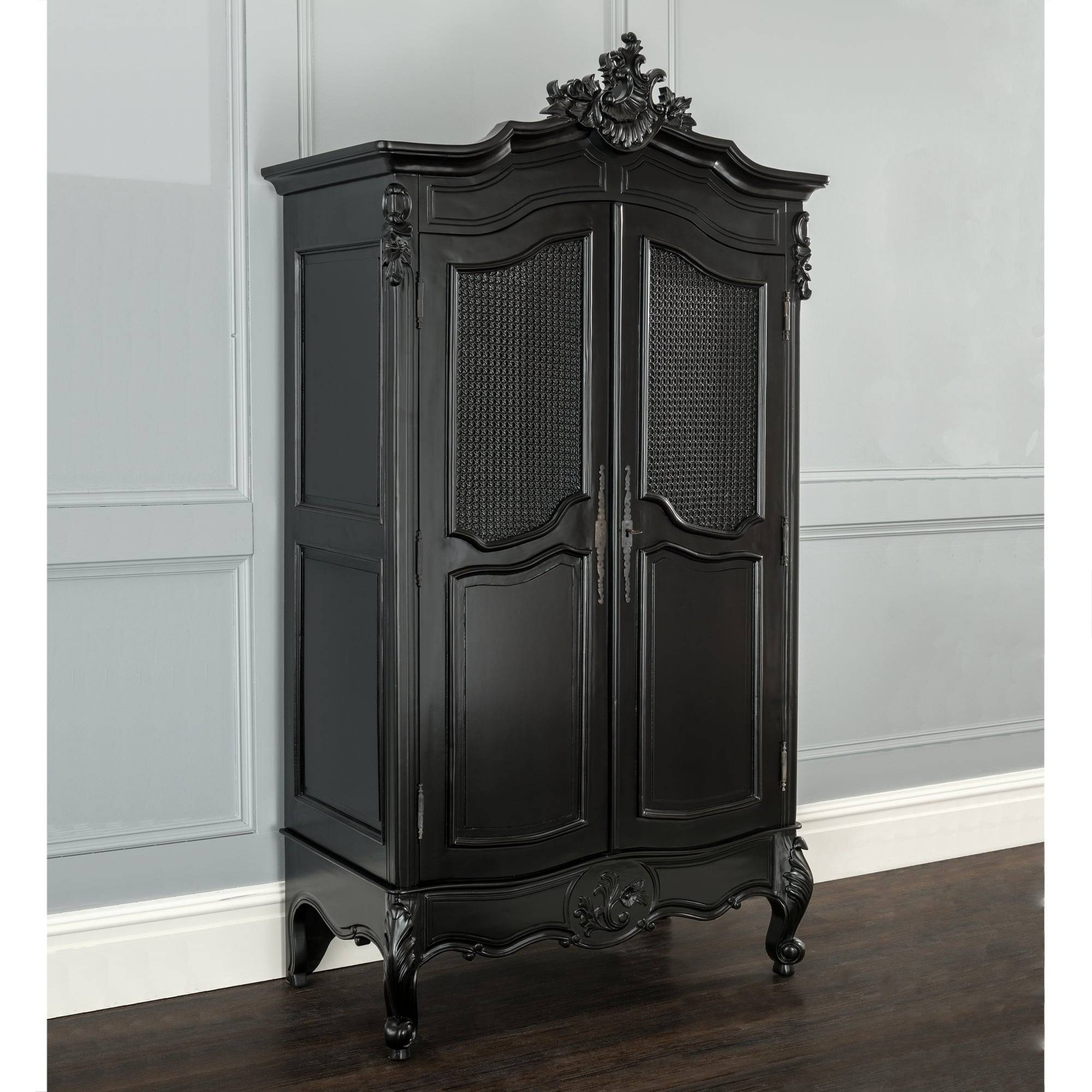 La Rochelle Antique French Wardrobe | Black Painted Furniture in Black French Style Wardrobes (Image 11 of 15)