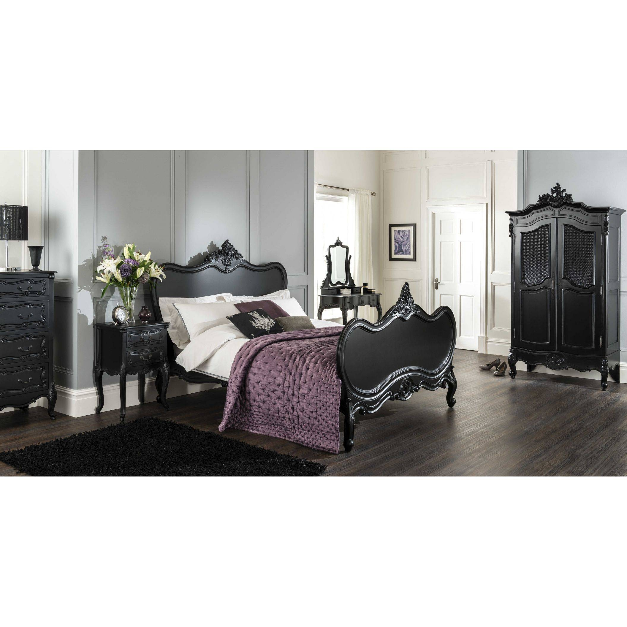 La Rochelle Antique French Wardrobe | Black Painted Furniture throughout Black French Style Wardrobes (Image 12 of 15)