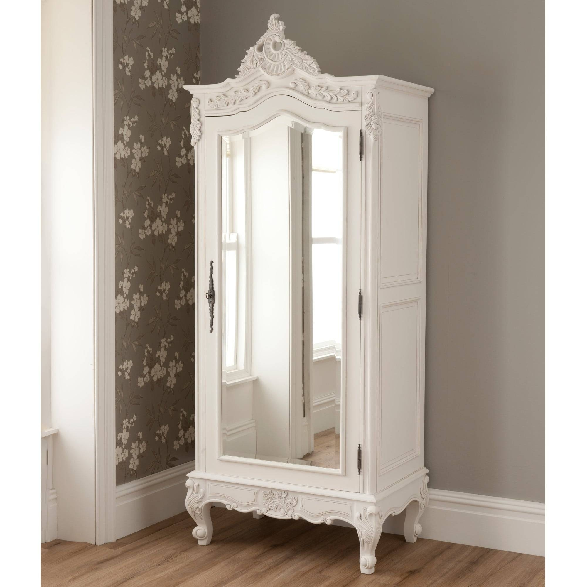 La Rochelle Mirrored Antique French 1 Door Wardrobe within 1 Door Mirrored Wardrobes (Image 4 of 15)