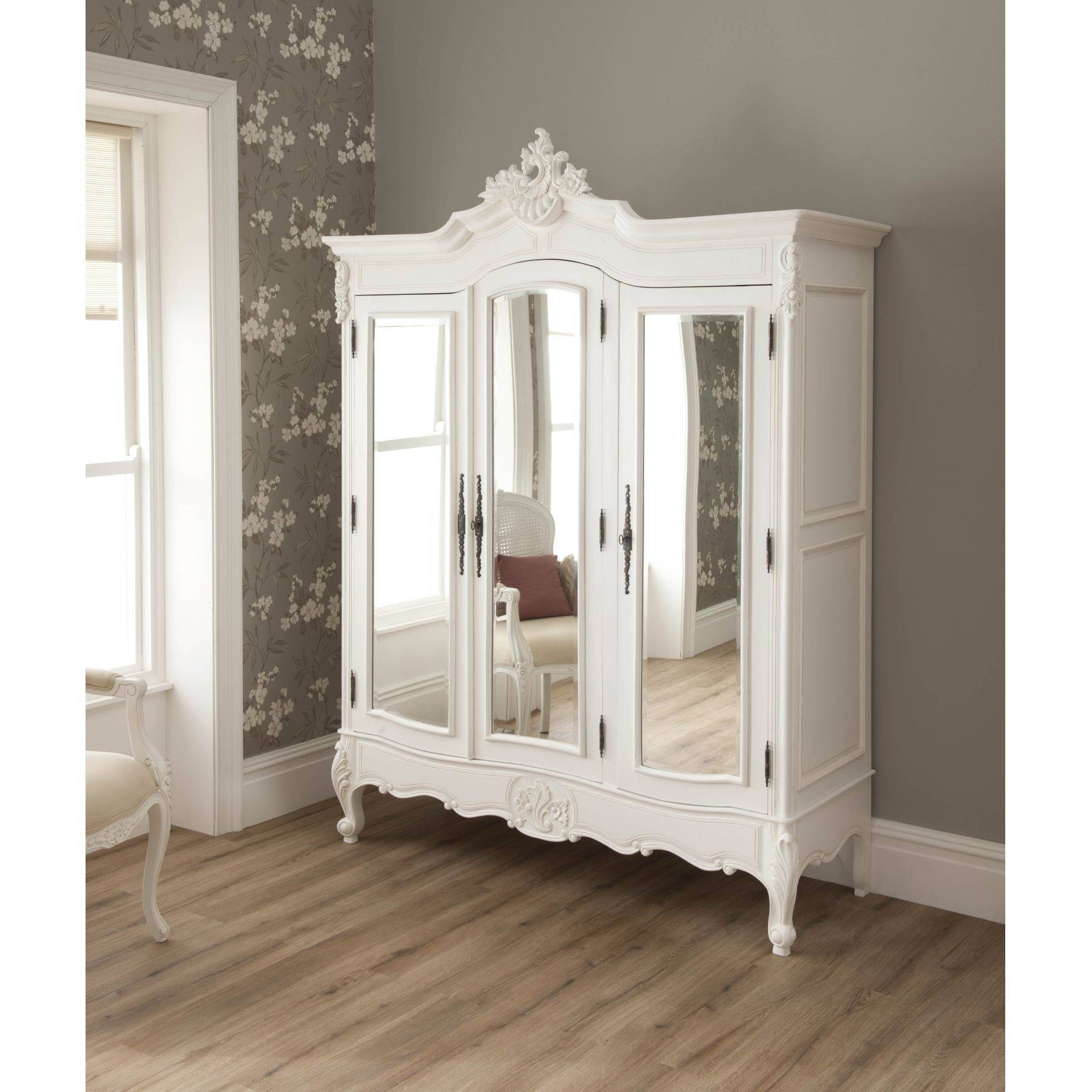La Rochelle Shabby Chic Antique Style Wardrobe | Shabby Chic Furniture for White Wardrobes French Style (Image 9 of 15)
