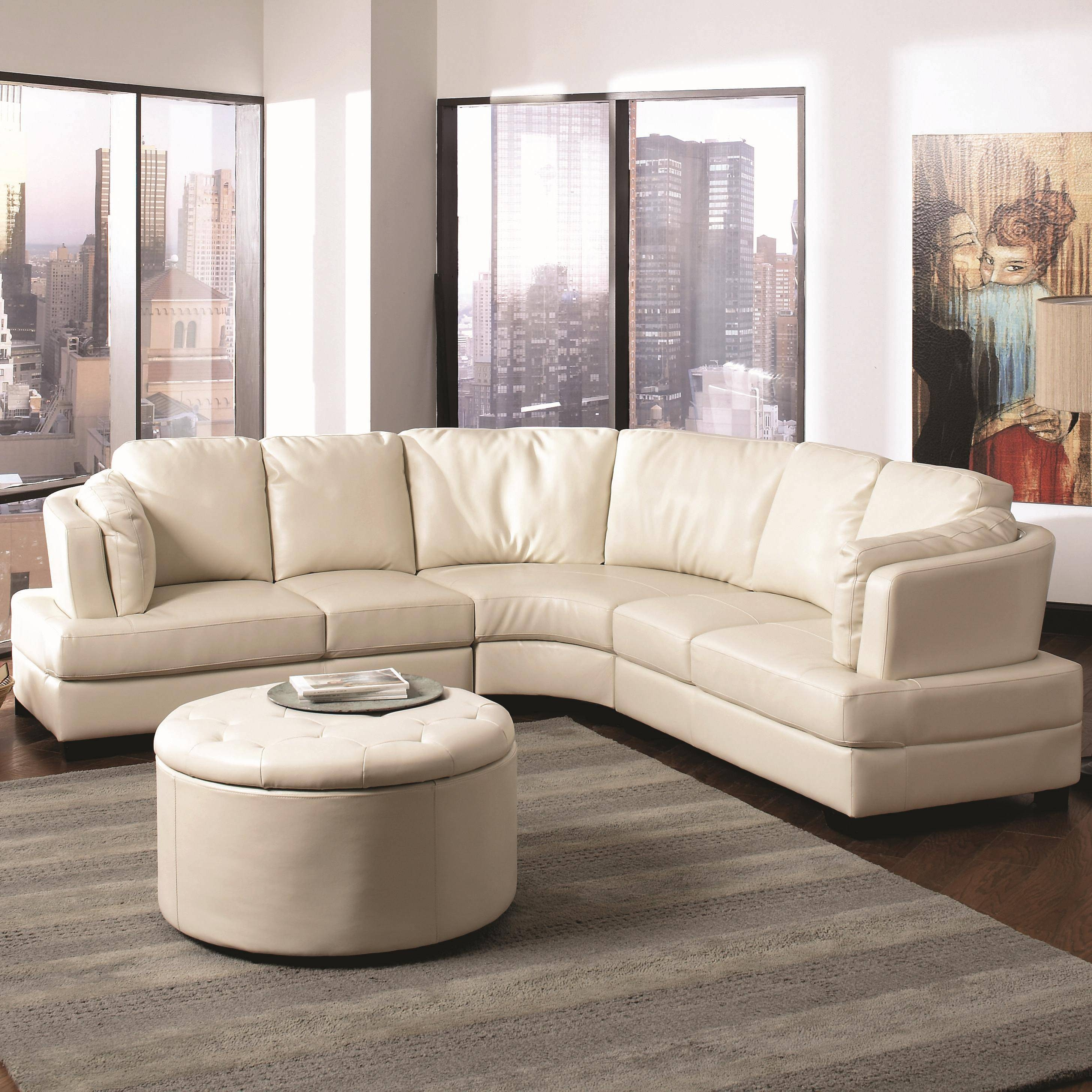 Landen Contemporary Curved Leather Sectional throughout Contemporary Curved Sofas (Image 20 of 30)