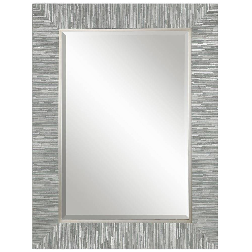 Landen Modern Classic Textured Silver Stripe Beveled Mirror inside Modern Silver Mirrors (Image 9 of 25)