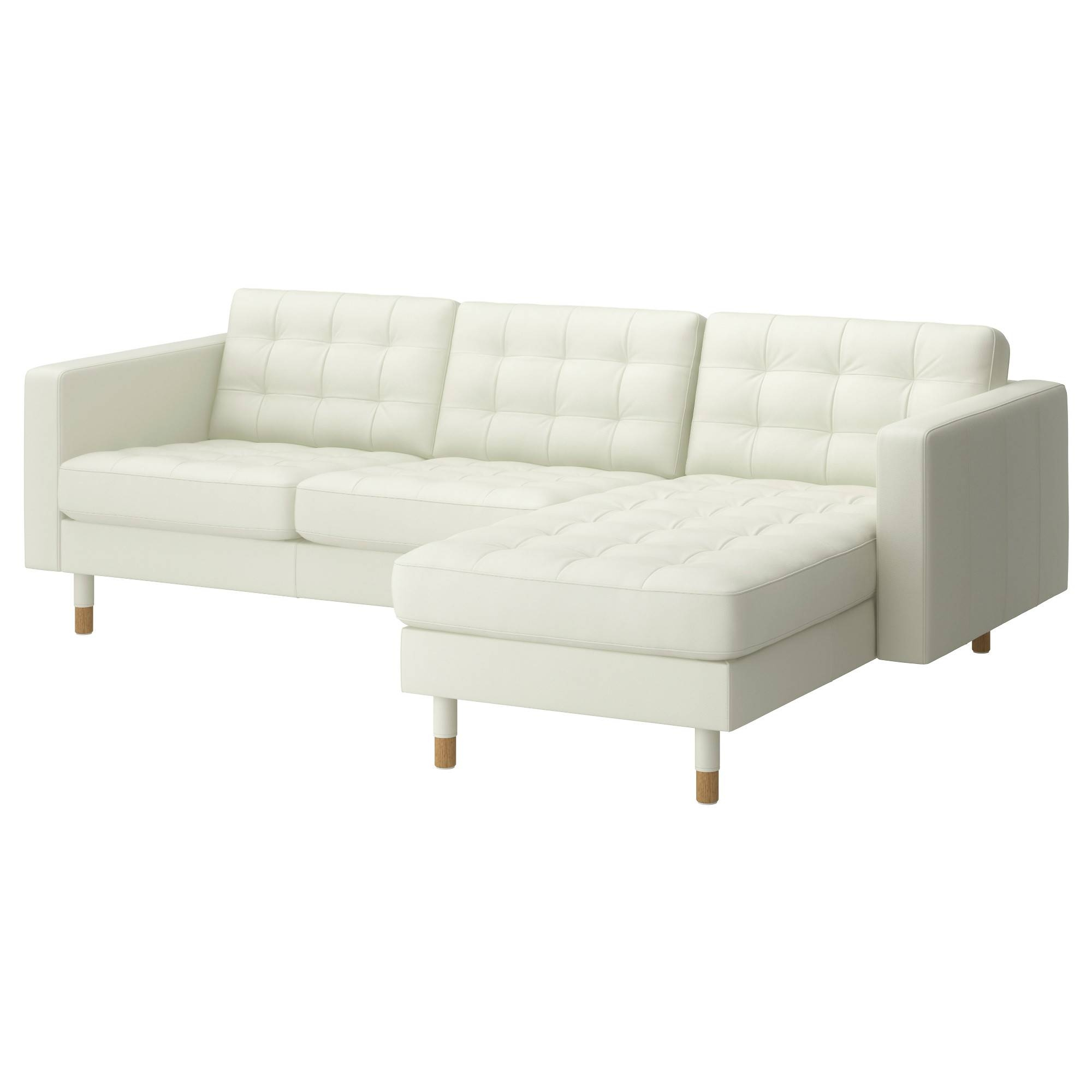 Landskrona Two-Seat Sofa And Chaise Longue Grann/bomstad White with regard to Ikea Chaise Lounge Sofa (Image 22 of 30)