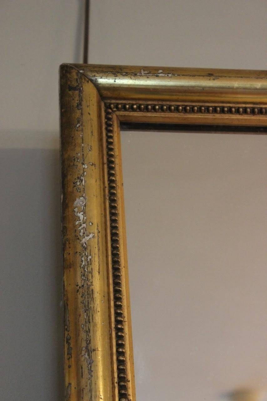 Large 19Th Century Gold Gilt Mirror - Square Mirrors / Rectangular regarding Square Gold Mirrors (Image 9 of 25)