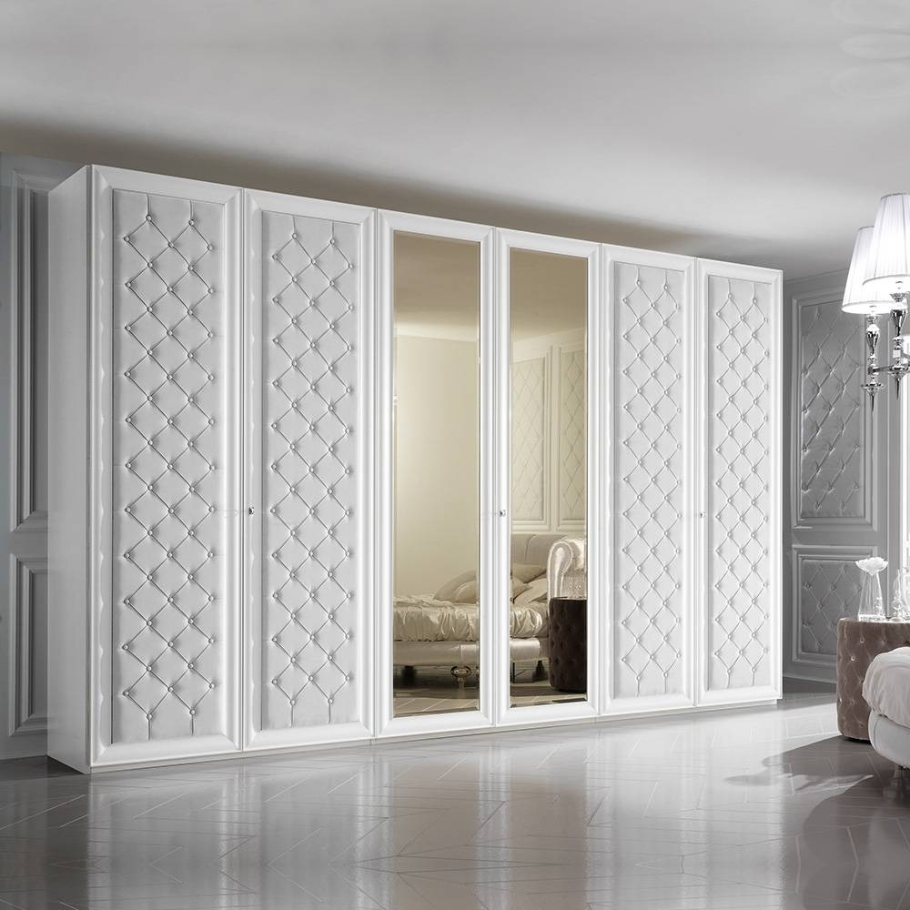 Large 6 Door Button Upholstered Fitted Wardrobe | Juliettes throughout 6 Door Wardrobes (Image 11 of 15)