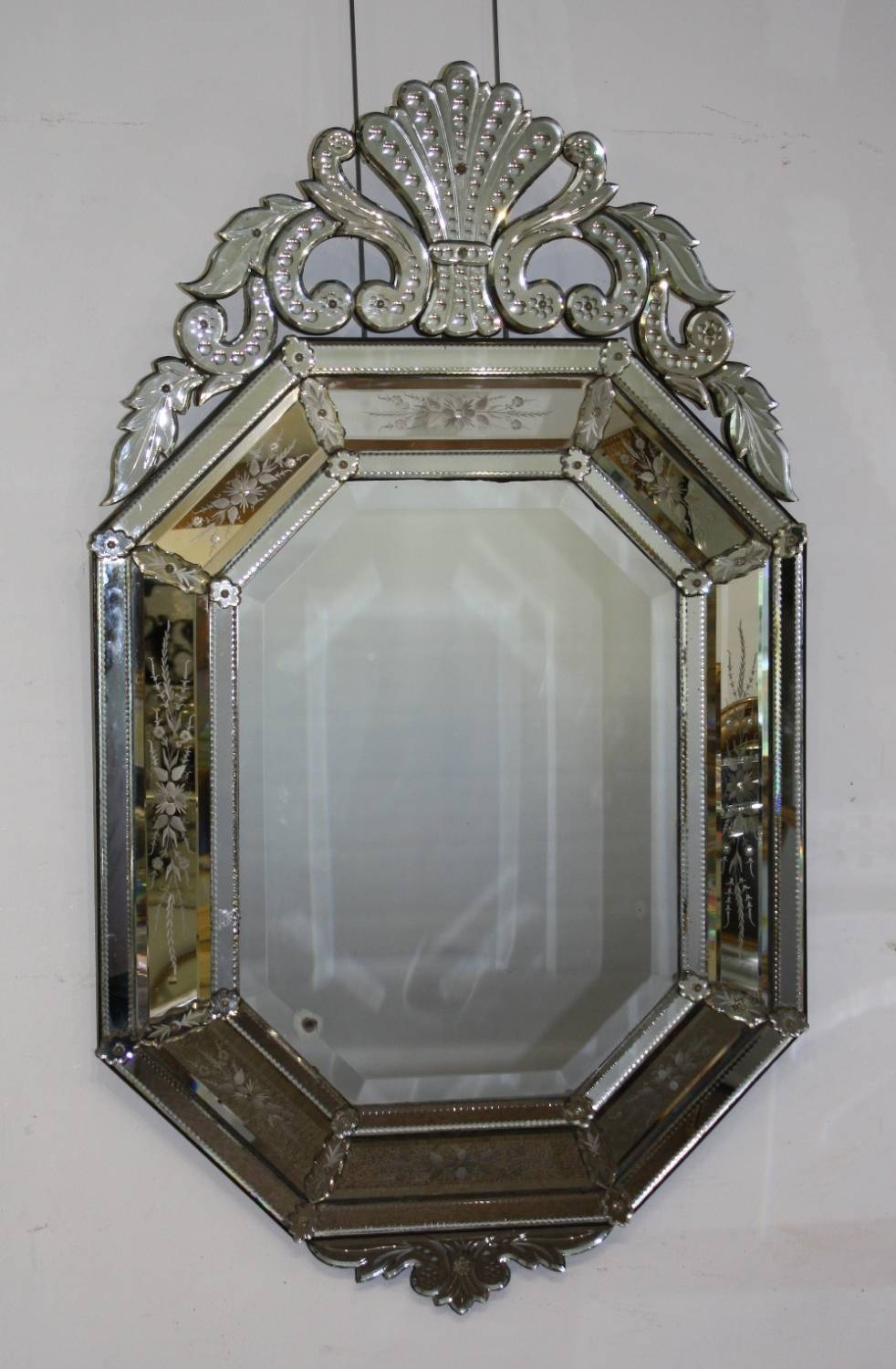 Large And Impressive Venetian Mirror pertaining to Venetian Antique Mirrors (Image 17 of 25)