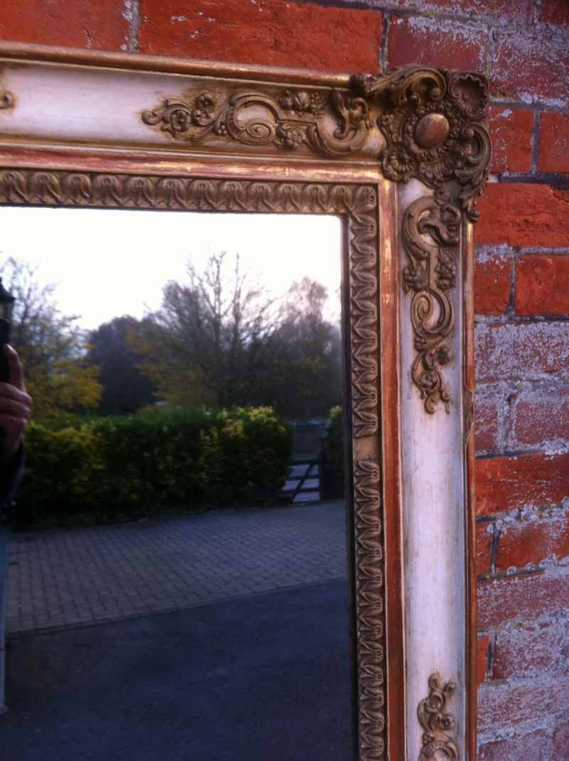 Large Antique Cream French And Gilt Overmantel Mirror - Antique with regard to Antique Cream Mirrors (Image 16 of 25)