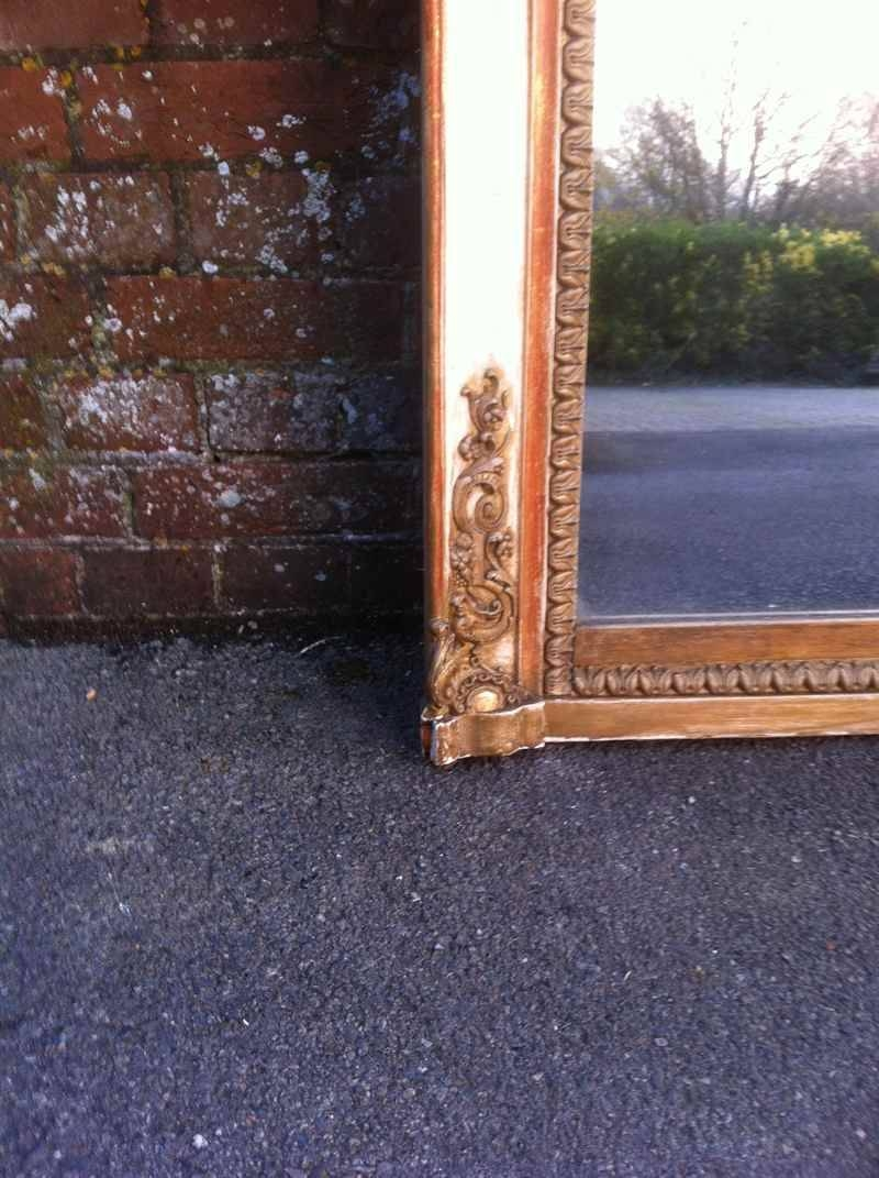 Large Antique Cream French And Gilt Overmantel Mirror – Antique Within Cream Antique Mirrors (View 18 of 25)