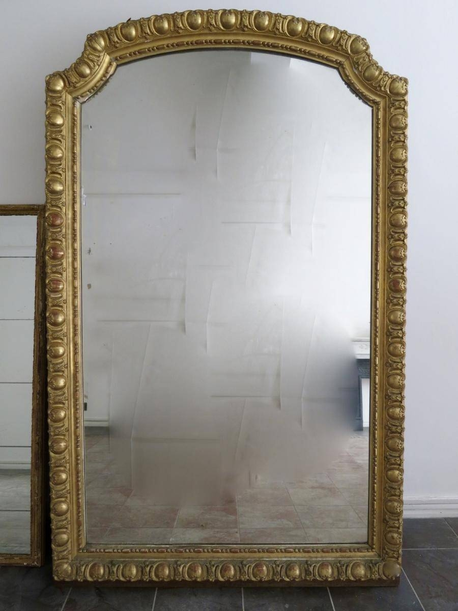Large Antique French Gold Gilt Mirror For Sale At Pamono Within Gilt Mirrors (View 15 of 25)