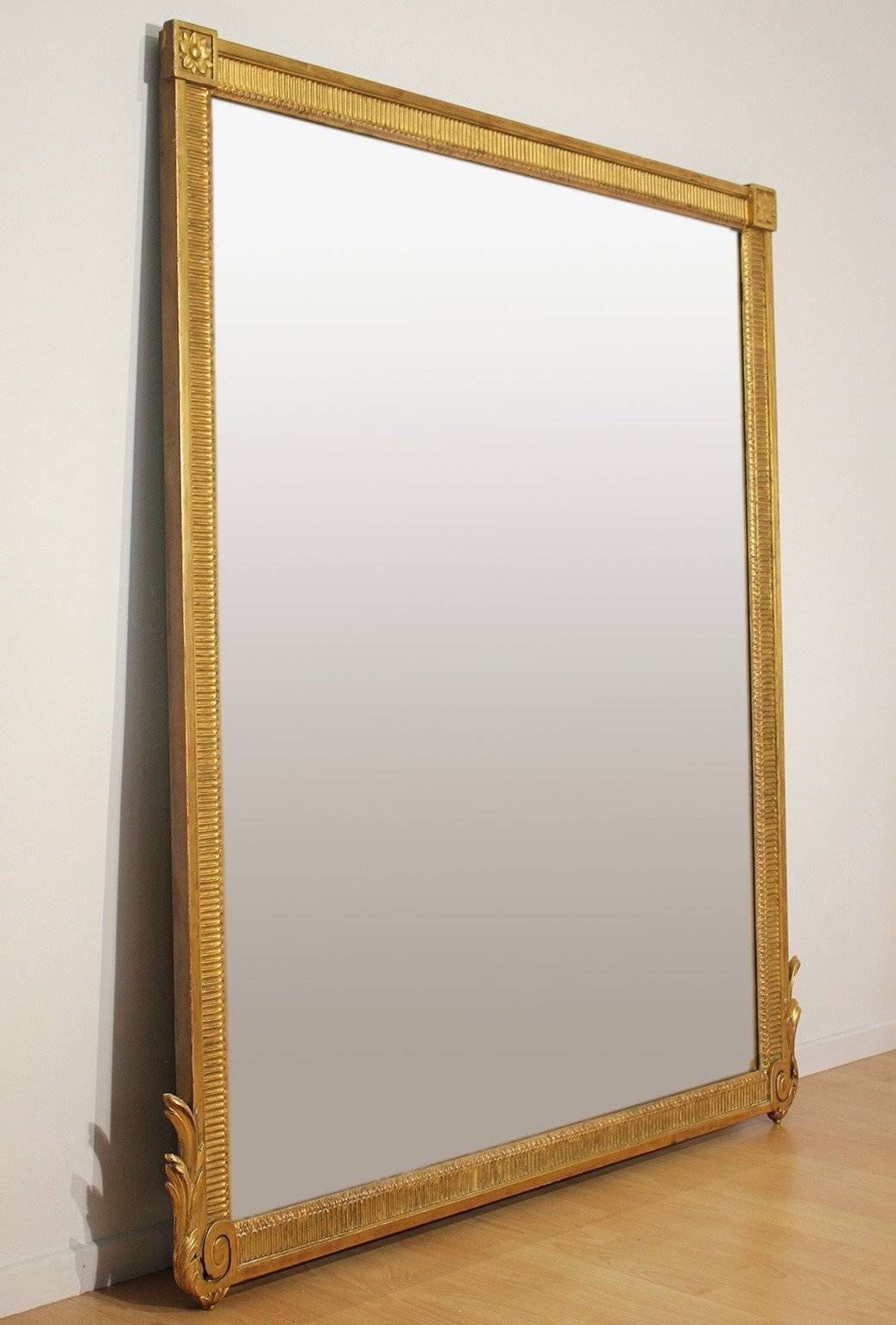 Large Antique French Neoclassical Decorative Gold Framed Mirror At with regard to Gilt Framed Mirrors (Image 12 of 25)