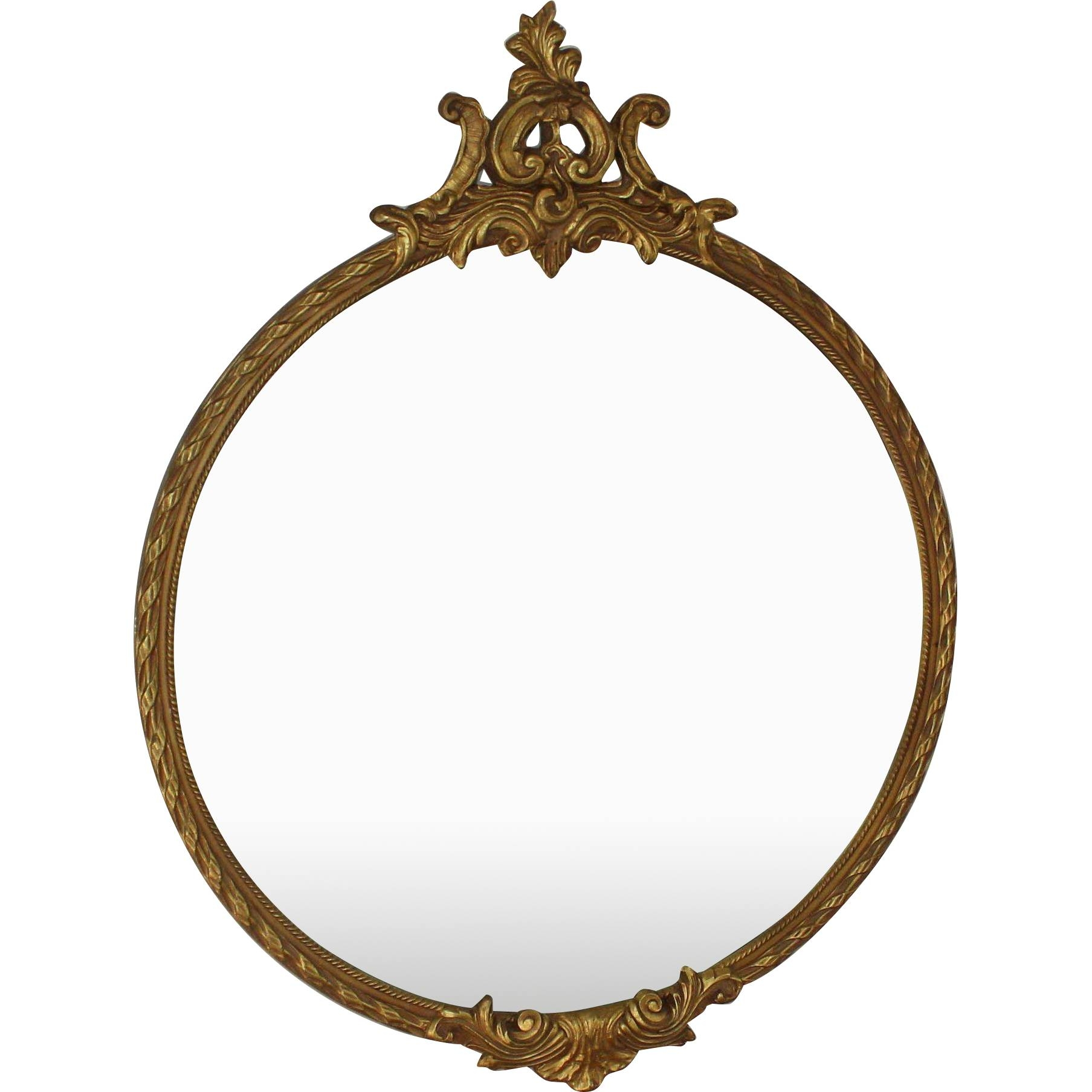 "Large Antique Gilded Round Mirror With Ornate Top 38"" Louis Xv regarding Ornate Round Mirrors (Image 11 of 25)"