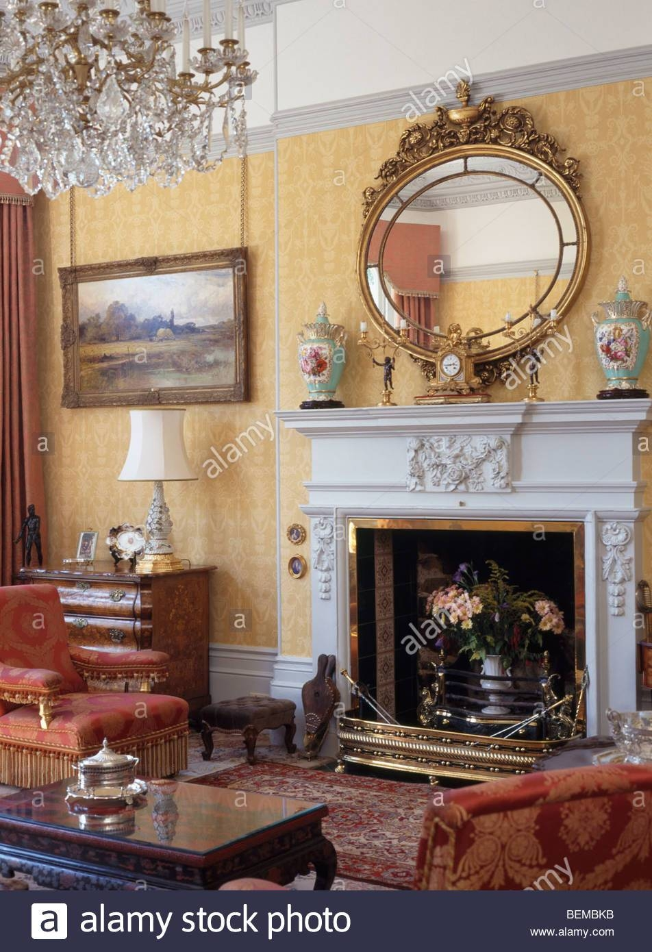 Large Antique Gilt Mirror Above Marble Fireplace In Cream Country within Cream Ornate Mirrors (Image 9 of 25)