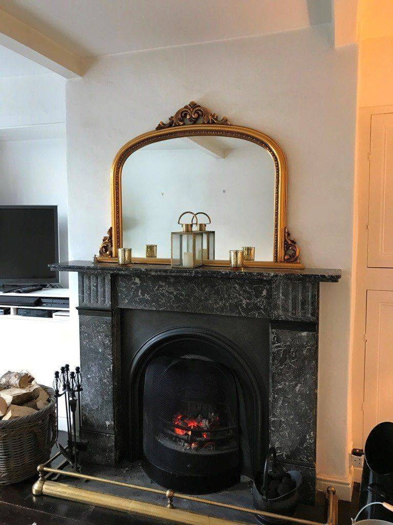 Large Antique Gold Arch Top Over Mantle Mirror | In Addingham pertaining to Gold Arch Mirrors (Image 14 of 25)