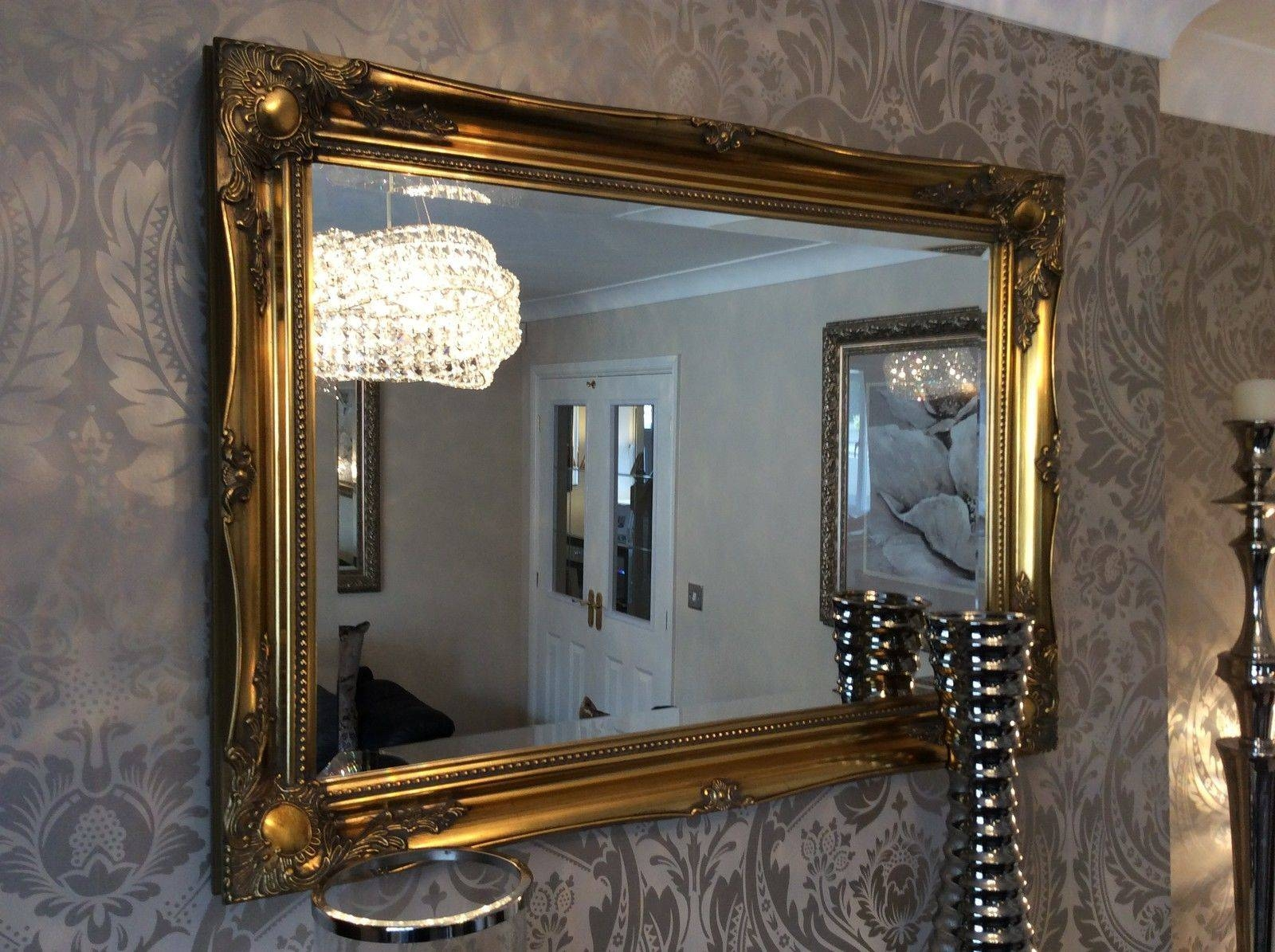 Large Antique Gold Shabby Chic Ornate Decorative Over Mantle Gilt in Shabby Chic Large Wall Mirrors (Image 6 of 25)