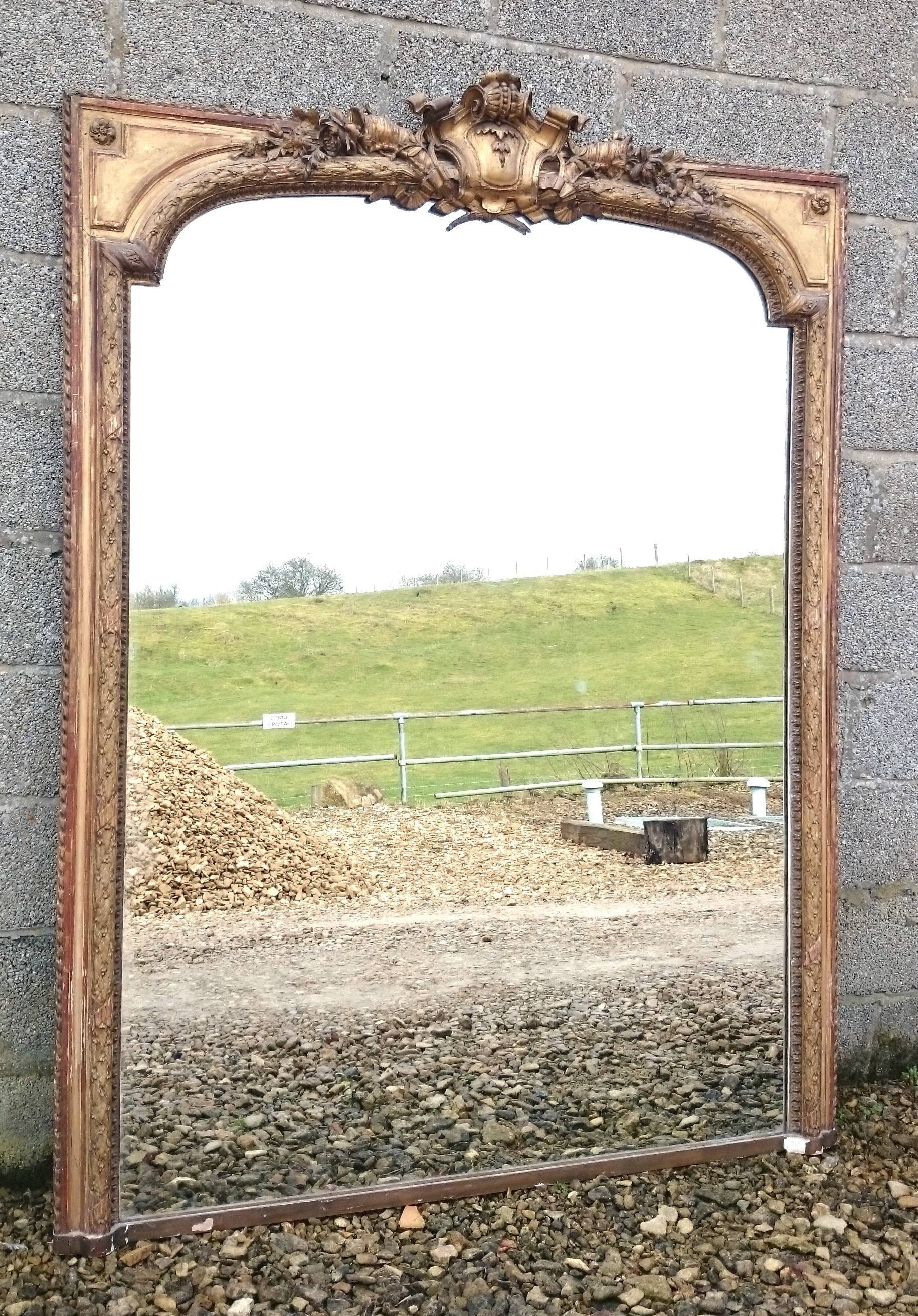 Large Antique Overmantle Mirror (C. 1850 United Kingdom) From throughout Vintage Overmantle Mirrors (Image 14 of 25)
