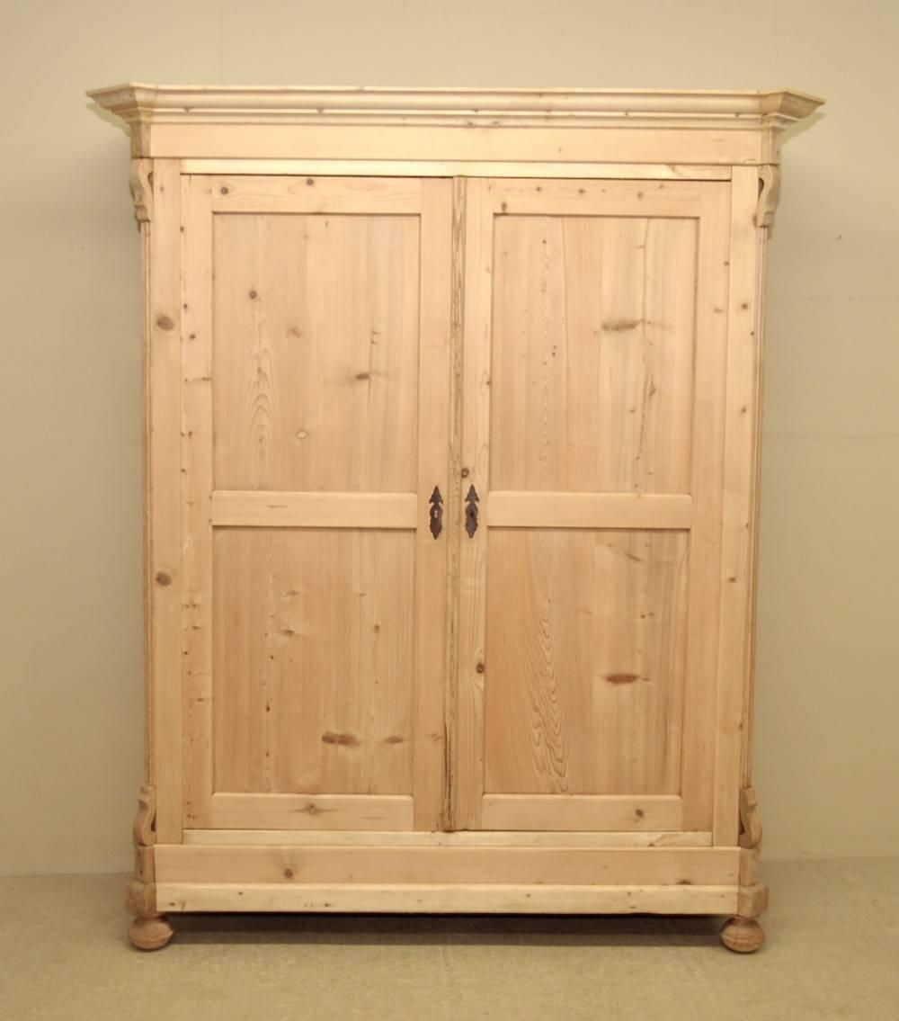 Large Antique Pine Double Wardrobe | 249323 | Sellingantiques.co.uk with Pine Wardrobes (Image 10 of 15)