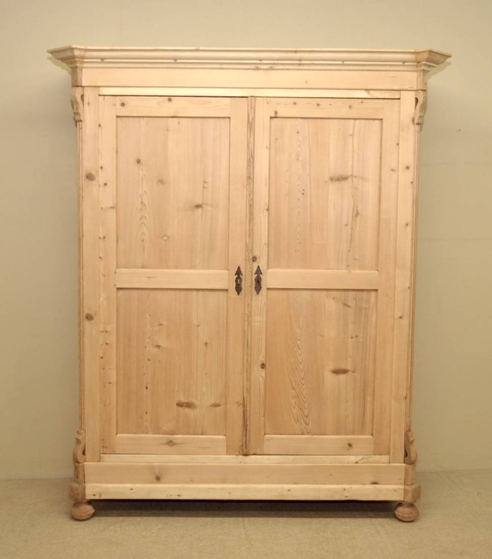 Large Antique Pine Double Wardrobe | 249323 | Sellingantiques.co.uk with regard to Pine Double Wardrobes (Image 11 of 15)