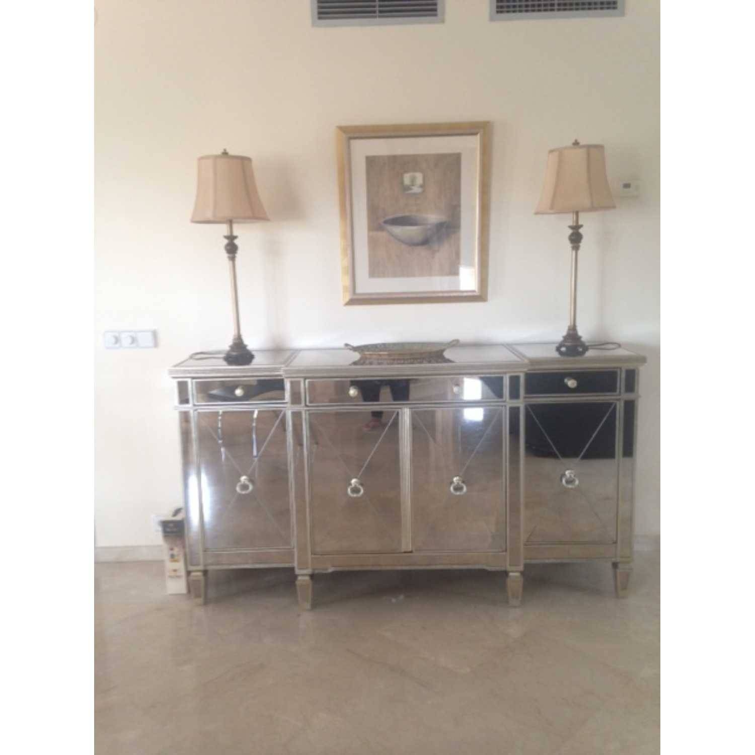 Large Antique Seville Venetian Mirrored Glass Sideboard 4 Door pertaining to Small Mirrored Sideboards (Image 11 of 30)