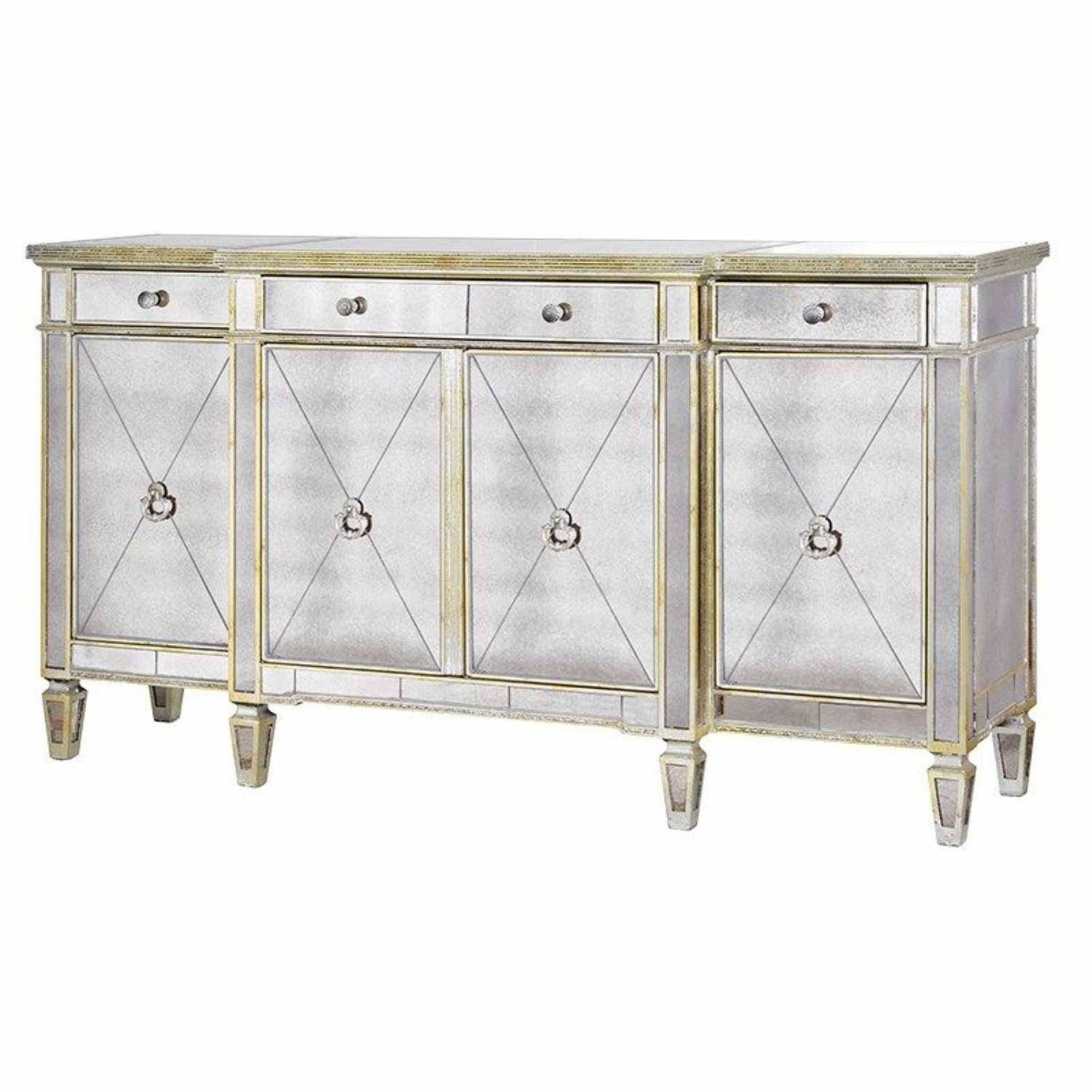 Large Antique Seville Venetian Mirrored Glass Sideboard 4 Door throughout Venetian Mirrored Chest Of Drawers (Image 9 of 25)