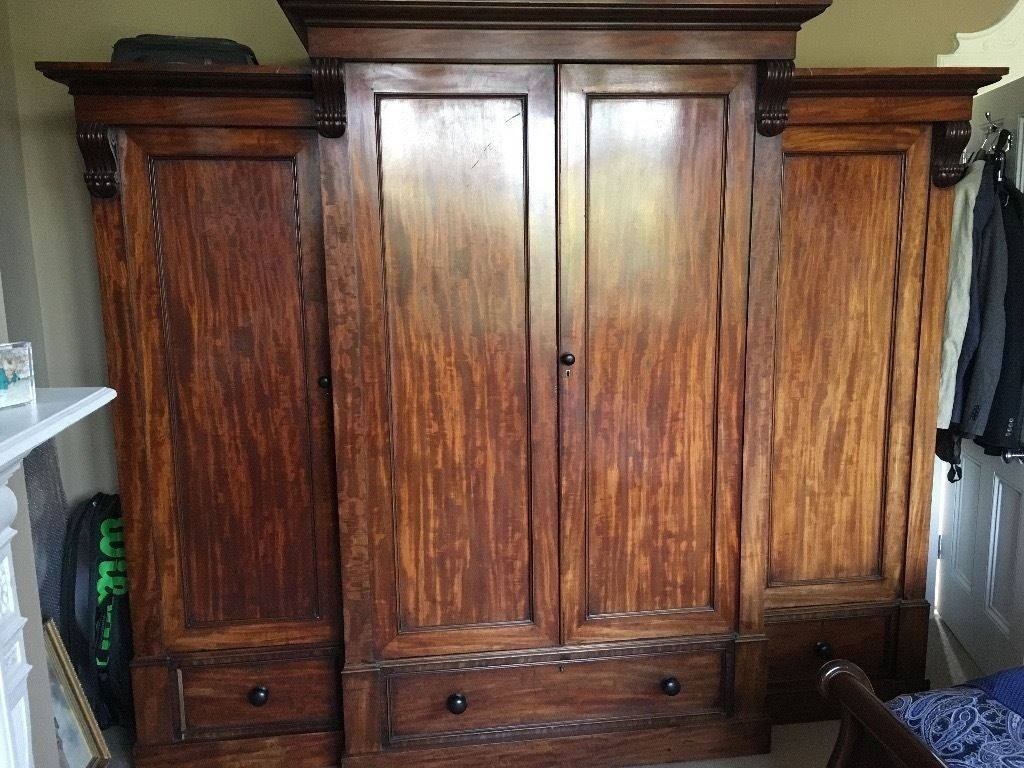 Large Antique Victorian Mahogany Breakfront Wardrobe | In Brighton in Victorian Breakfront Wardrobe (Image 4 of 30)