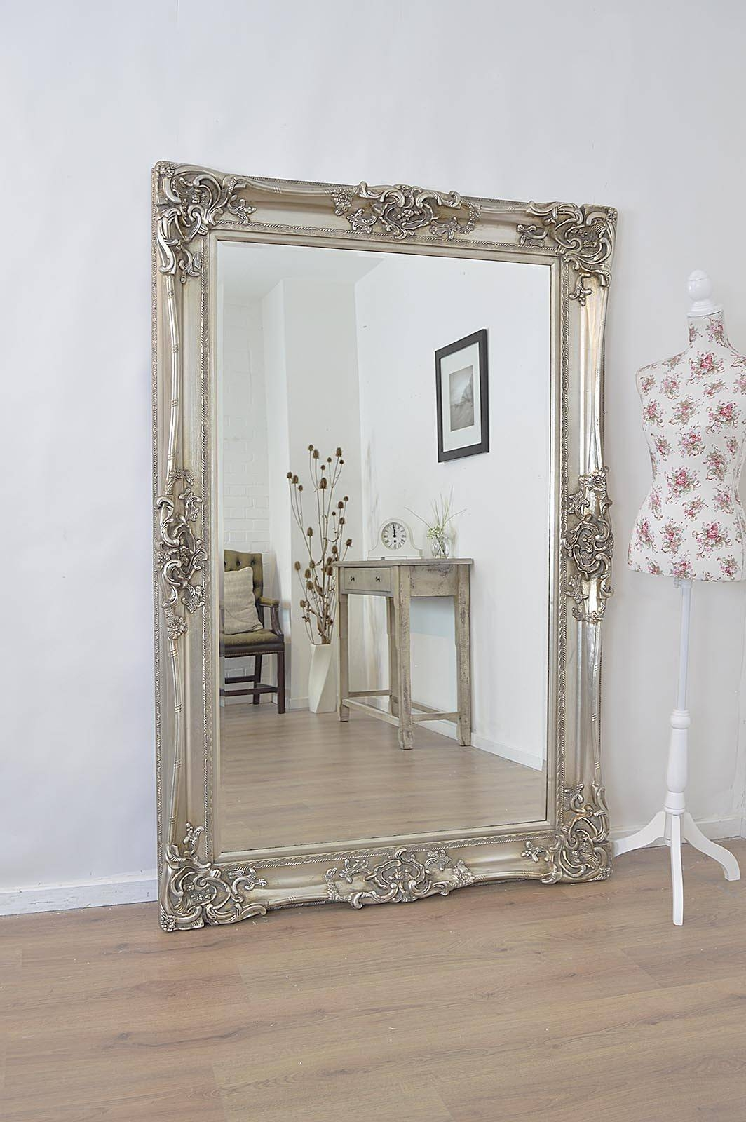 Large Antique Wall Mirror Ornate Frame Antique Ornate Wall Mirrors pertaining to Large Ornate Silver Mirrors (Image 11 of 25)