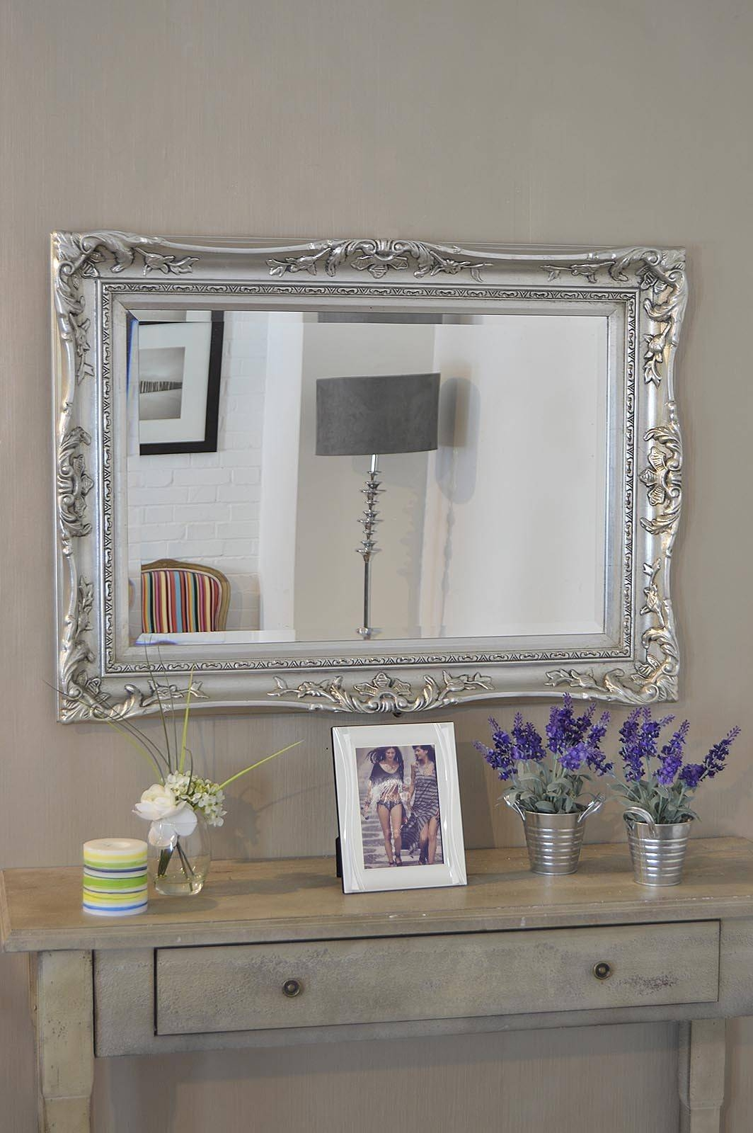 Large Antique Wall Mirror Ornate Frame Antique Ornate Wall Mirrors within Antique Ornate Mirrors (Image 15 of 25)