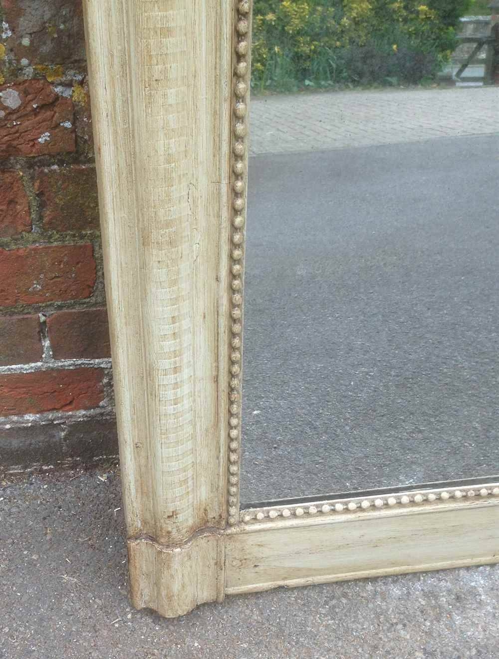 Large Arched Top Highly Useful Antique French Painted Ribbed regarding Antique French Floor Mirrors (Image 21 of 25)