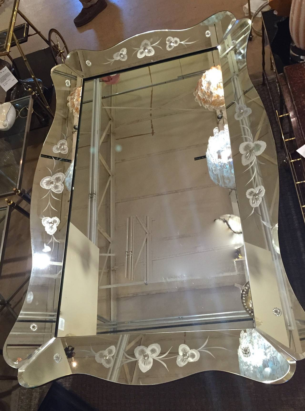 Large Art Deco Etched Curved Edge Wall Mirror At 1Stdibs with Large Art Deco Wall Mirrors (Image 19 of 25)