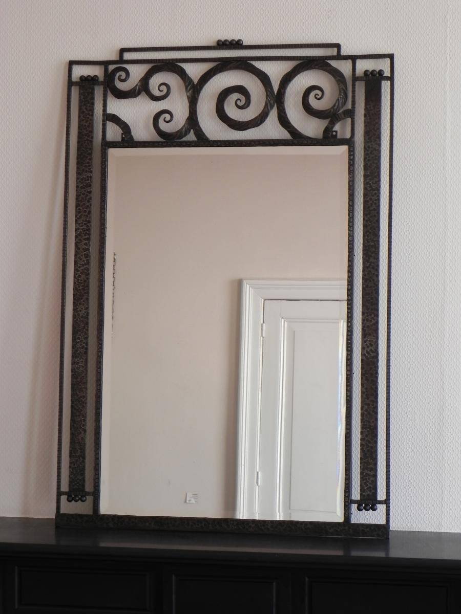 Large Art Deco Mirror With Steel Frame, 1930S For Sale At Pamono for Art Deco Mirrors (Image 18 of 25)