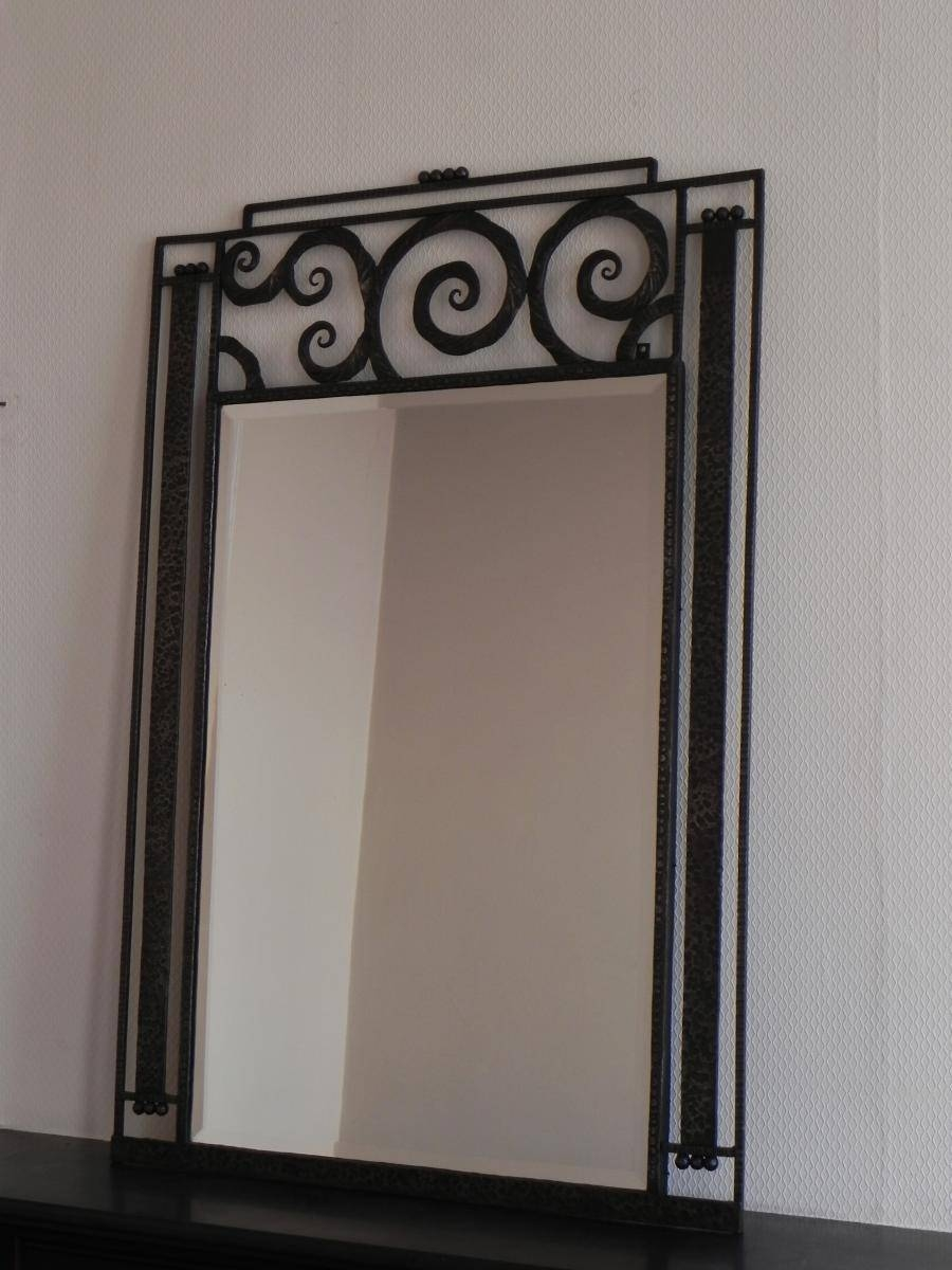 Large Art Deco Mirror With Steel Frame, 1930S For Sale At Pamono in Art Deco Mirrors (Image 19 of 25)