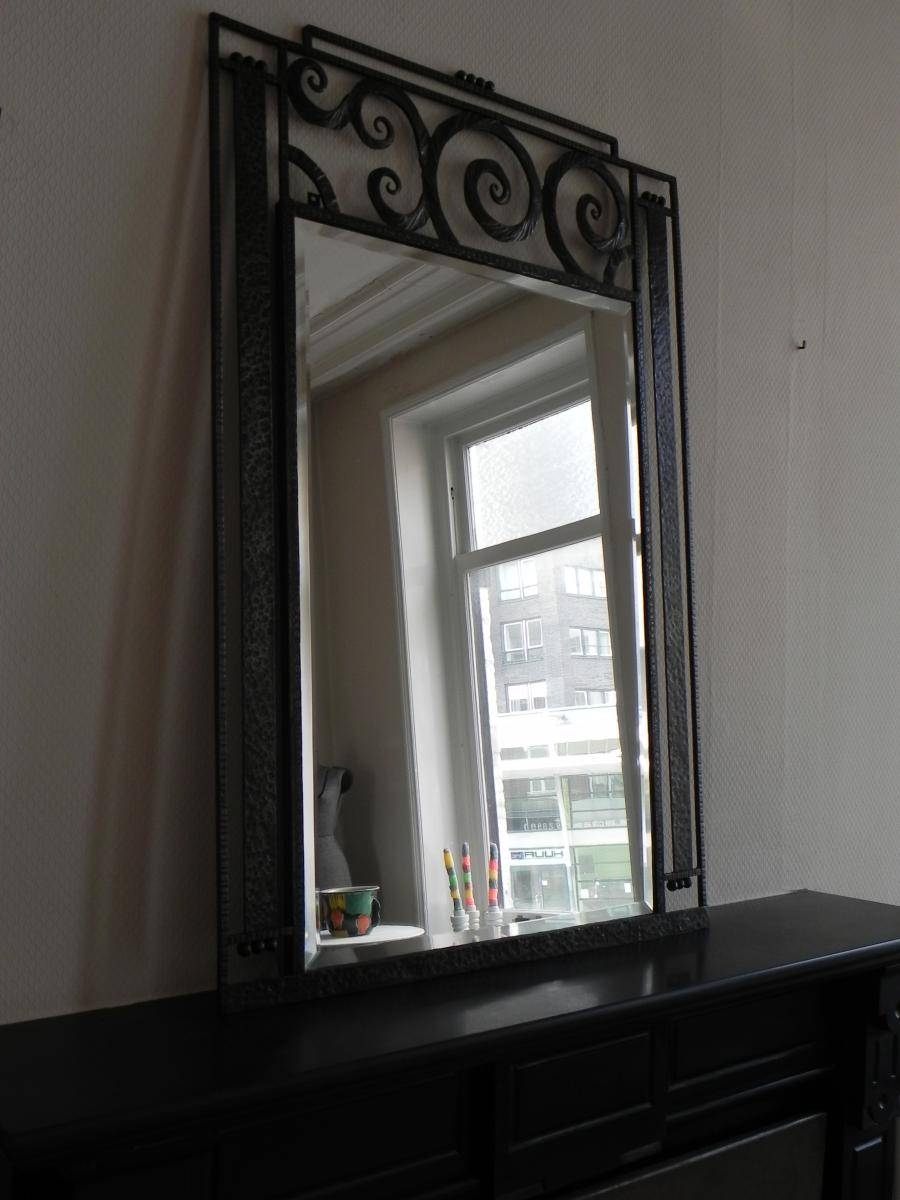 Large Art Deco Mirror With Steel Frame, 1930S For Sale At Pamono regarding Large Art Deco Mirrors (Image 16 of 25)