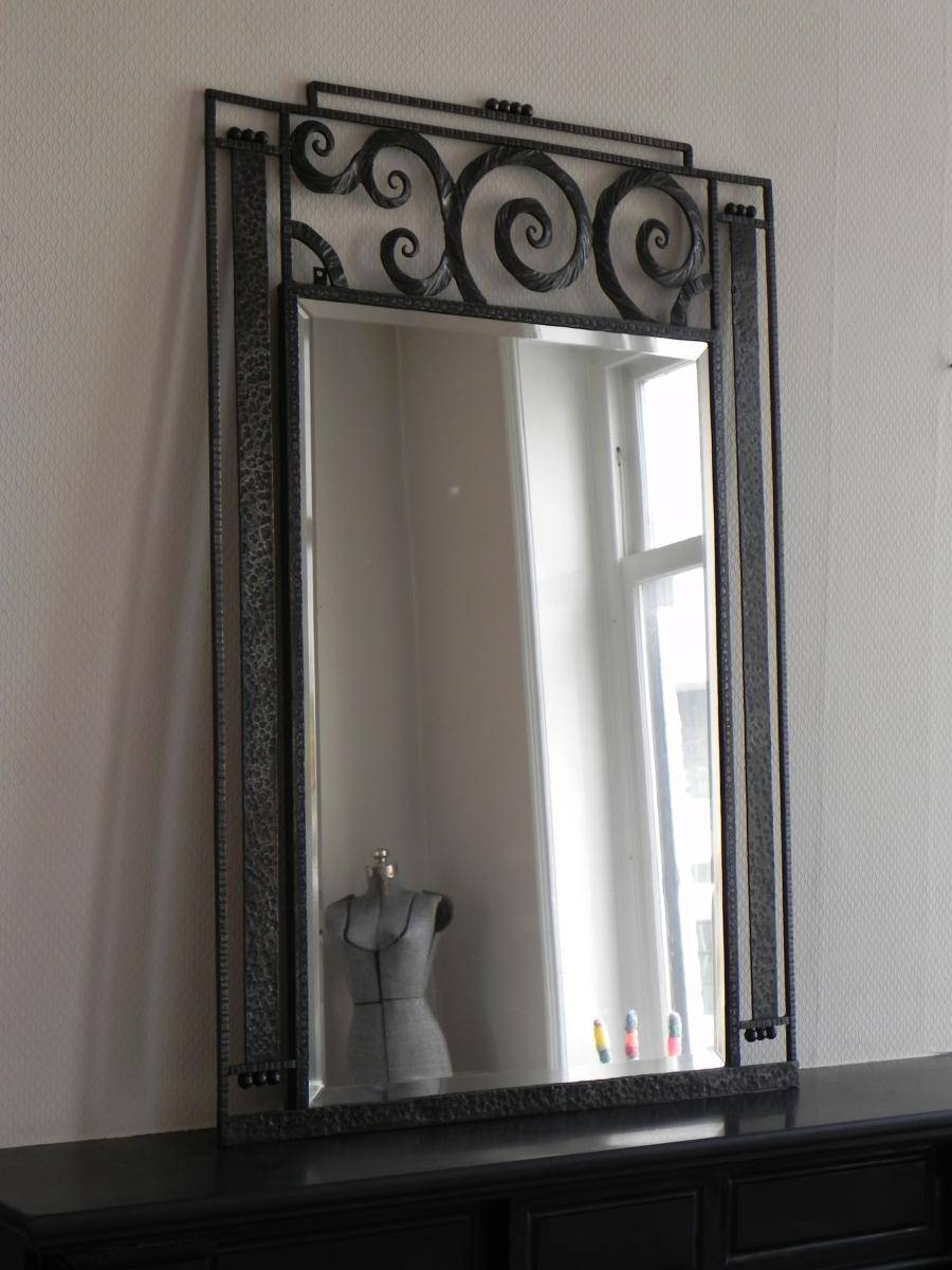 Large Art Deco Mirror With Steel Frame, 1930S For Sale At Pamono throughout Art Deco Mirrors (Image 20 of 25)