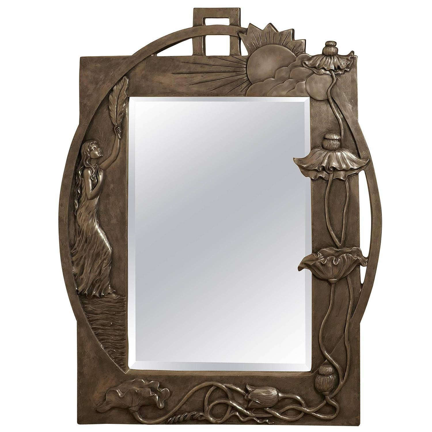 Large Art Nouveau Pewter Wall Mirror, Made In Francerosa Art for Art Nouveau Mirrors (Image 18 of 25)