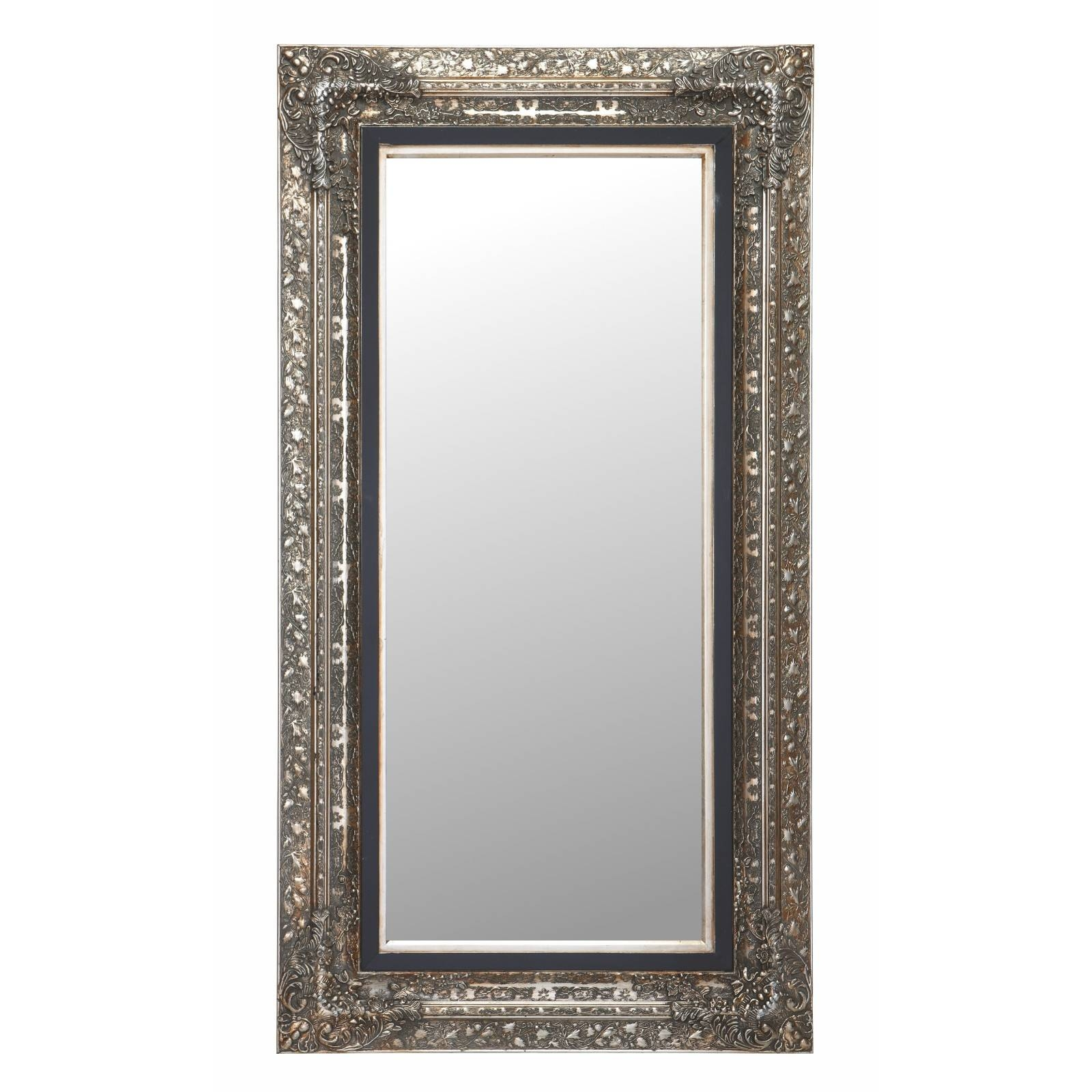 "Large Baroque Mirror ""laura"" Facet Cut Silver 39.7"" X 75.2"" 