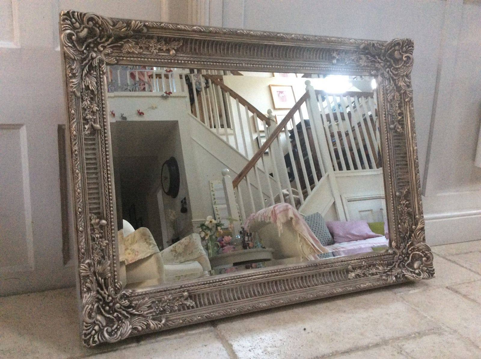Large Bevelled Mirror. Large Bevelled Mirrorin A Gold Embossed within Large French Style Mirrors (Image 16 of 25)