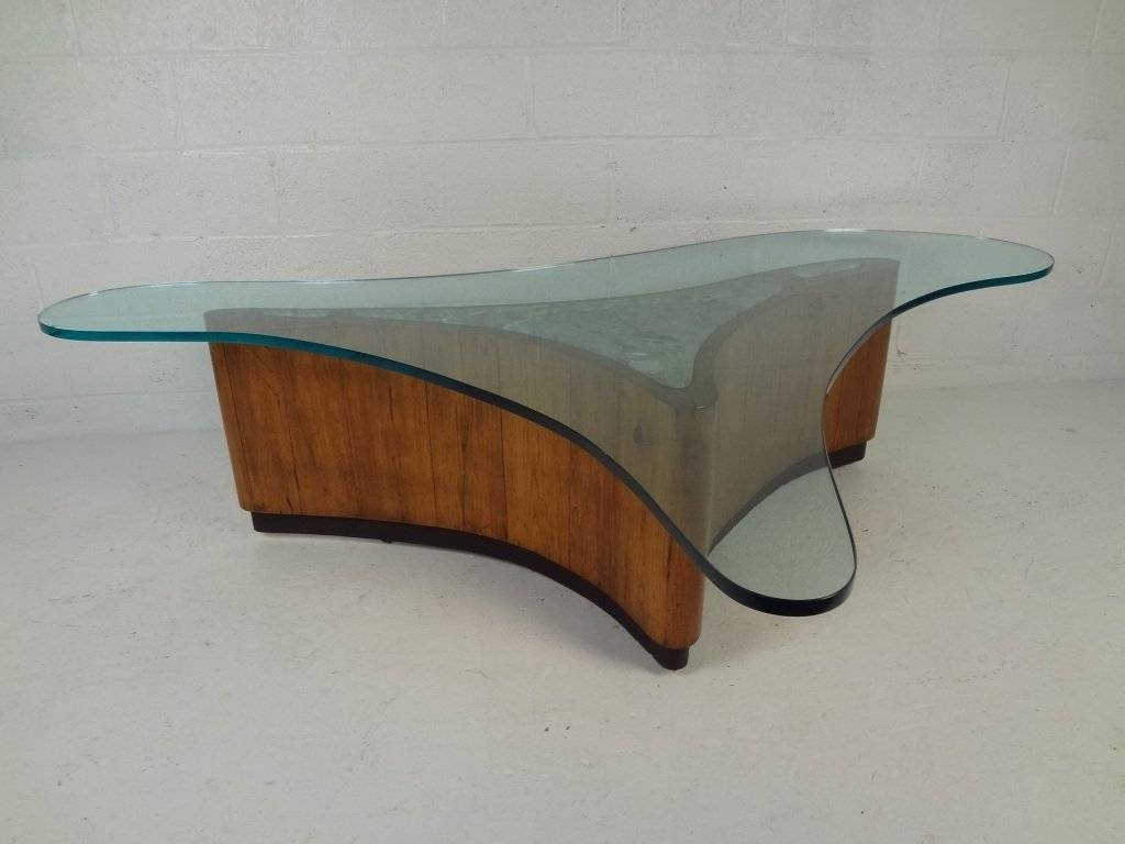 Large Biomorphic Glass And Marble Free-Form Coffee Table For Sale in Free Form Coffee Tables (Image 15 of 30)