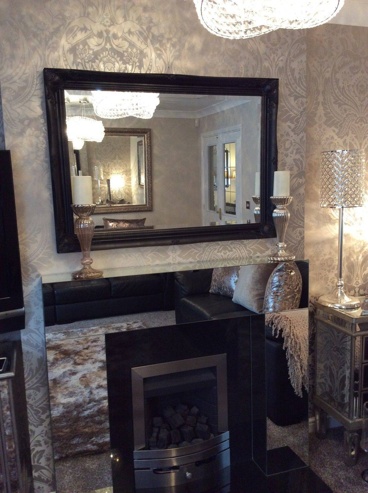 Large Black Shabby Chic Bevelled Wall Mirror - 36Inch X 26Inch throughout Black Bevelled Mirrors (Image 6 of 13)