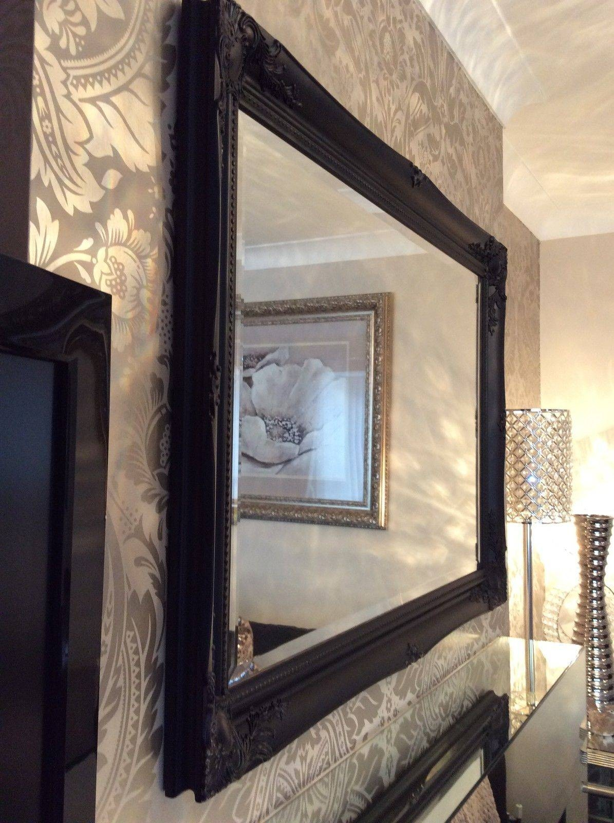 Large Black Shabby Chic Bevelled Wall Mirror - 36Inch X 26Inch within Black Bevelled Mirrors (Image 7 of 13)