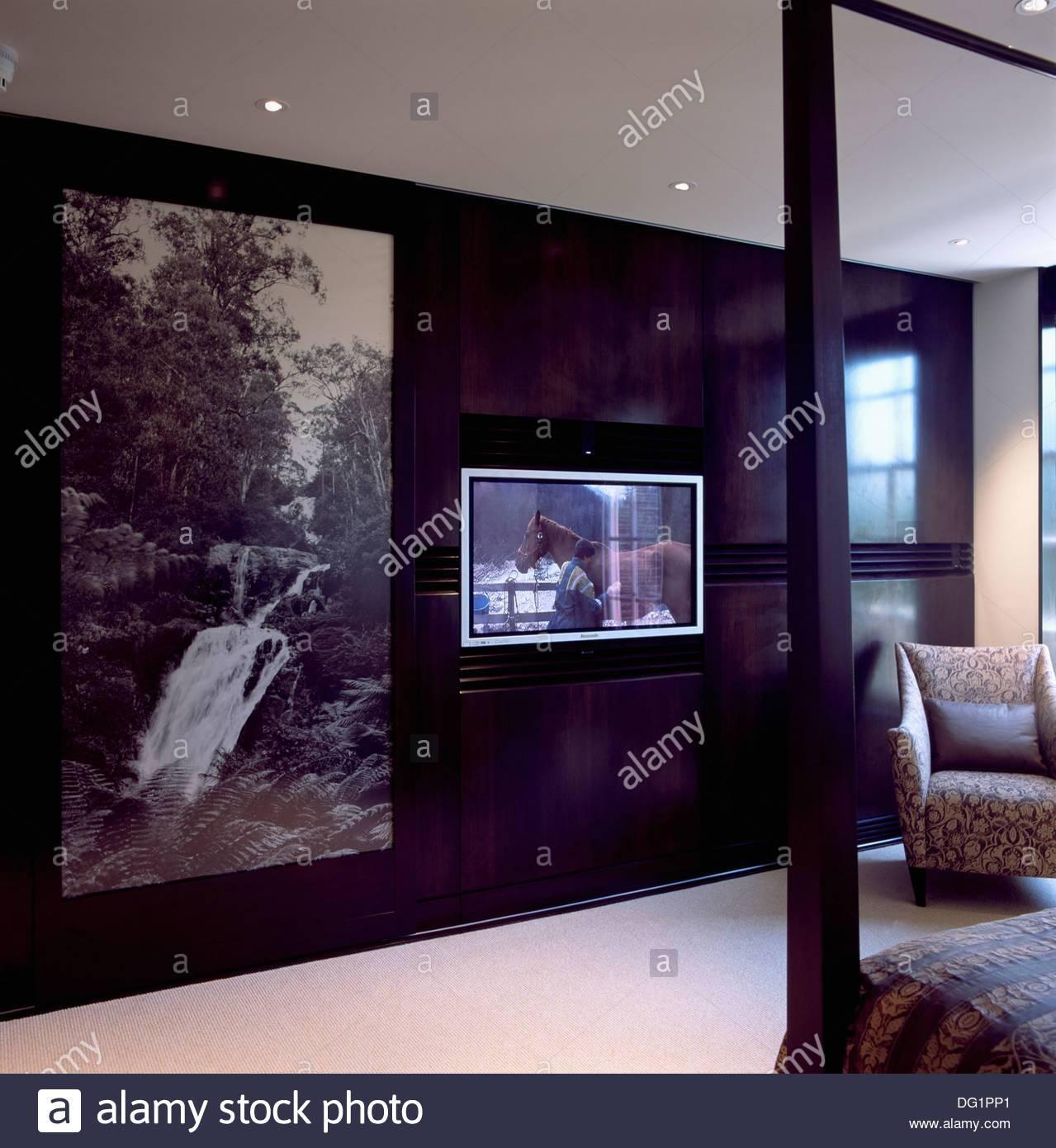 Large Black+White Photographic Panel On Sliding Wardrobe Door with Large Black Wardrobes (Image 11 of 15)