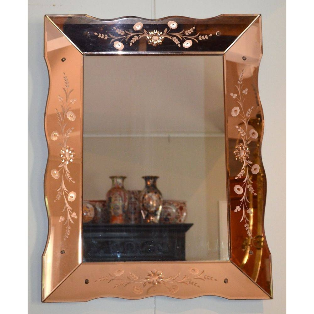 Large Colored Glass Venetian Etched Art Deco Wall Mirror, Italy in Art Deco Wall Mirrors (Image 21 of 25)