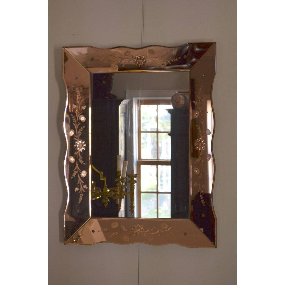 Large Colored Glass Venetian Etched Art Deco Wall Mirror, Italy inside Large Art Deco Wall Mirrors (Image 22 of 25)