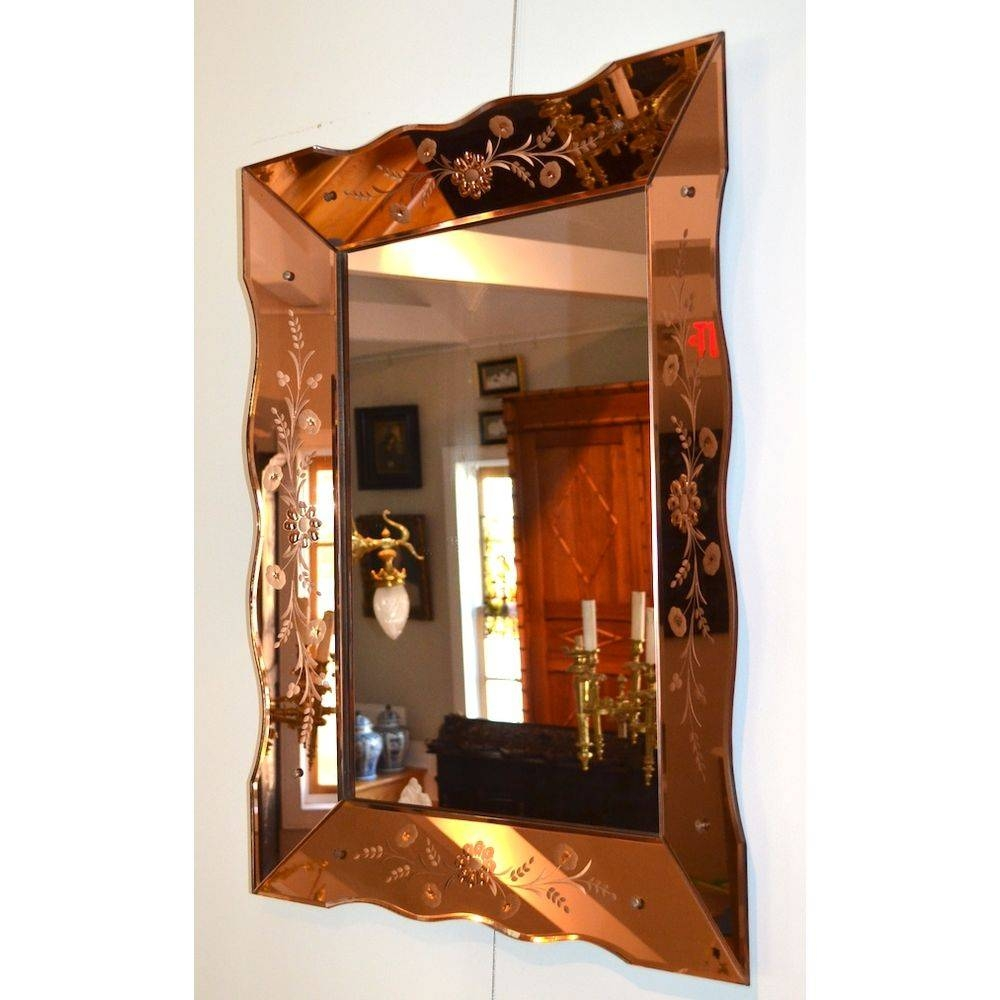 Large Colored Glass Venetian Etched Art Deco Wall Mirror, Italy within Large Art Deco Wall Mirrors (Image 23 of 25)