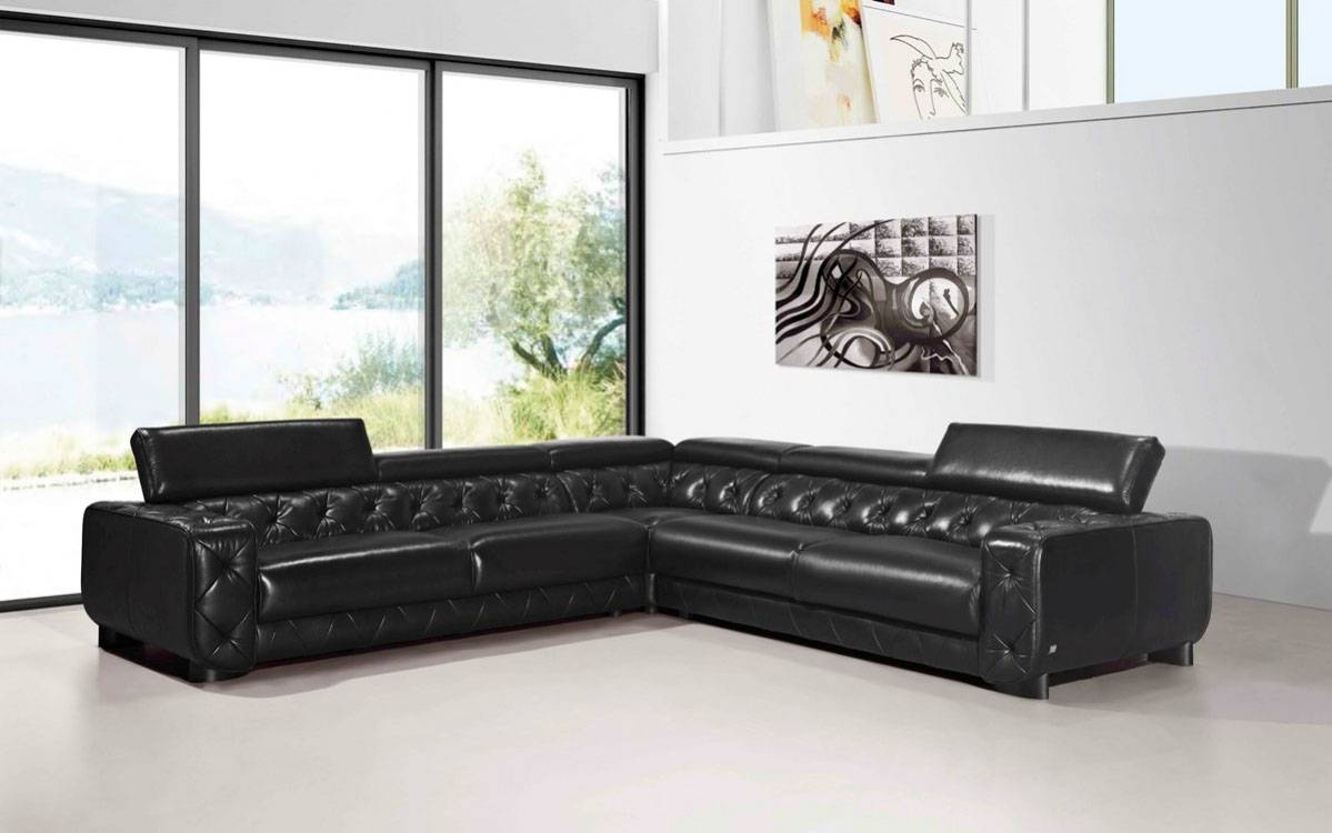 Large Contemporary Black Tufted Genuine Leather Sectional Sofa Las with regard to Contemporary Black Leather Sofas (Image 14 of 30)