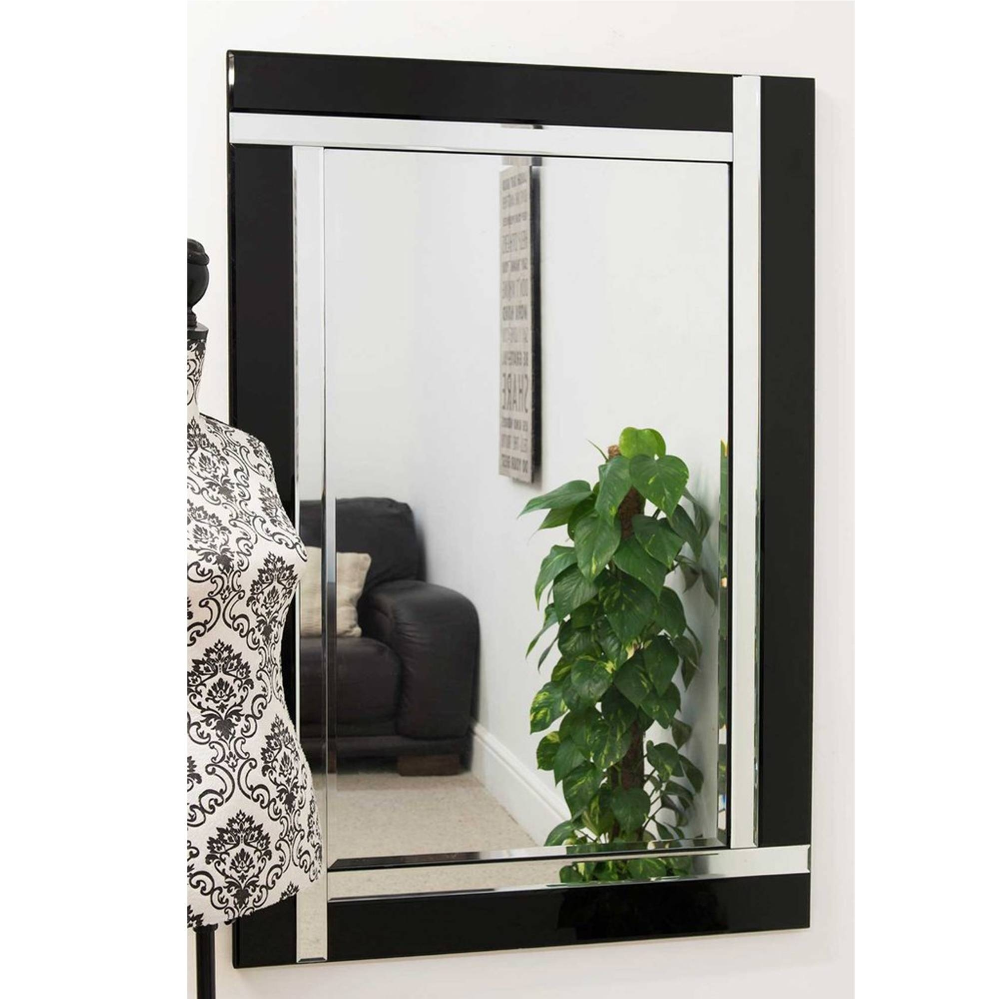 Large Contemporary Black Venetian Mirror | Decorative Venetian Mirrors intended for Large Venetian Mirrors (Image 8 of 25)
