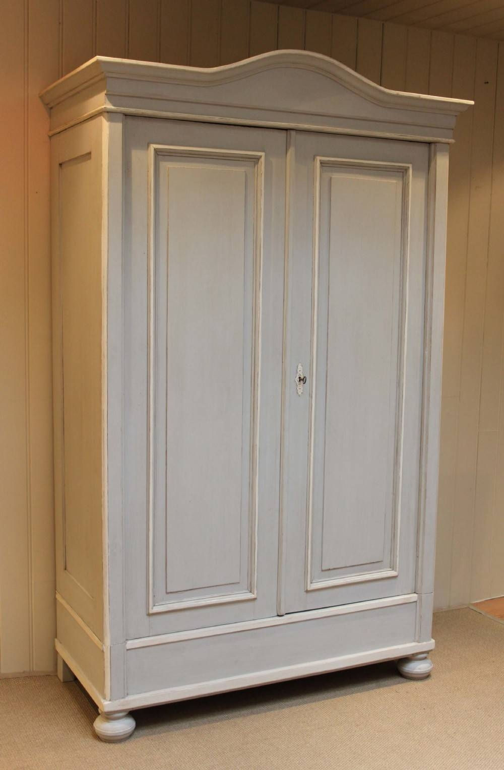 Large Continental Painted Pine Wardrobe | 244295 | Sellingantiques with Large Antique Wardrobes (Image 9 of 15)