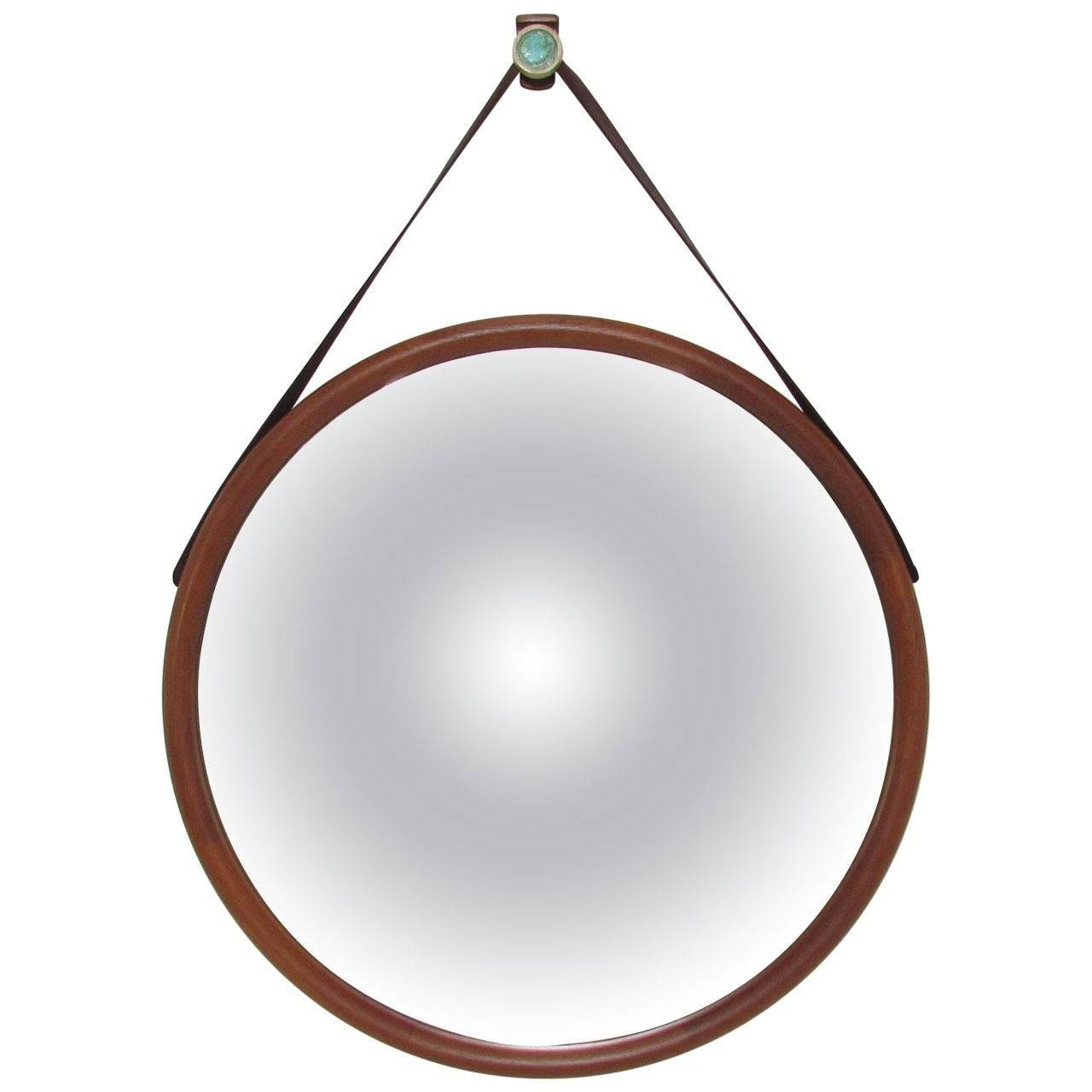 Large Danish Teak Wall Mirror With Leather Strap And Tile Hook At Regarding Leather Wall Mirrors (View 19 of 25)