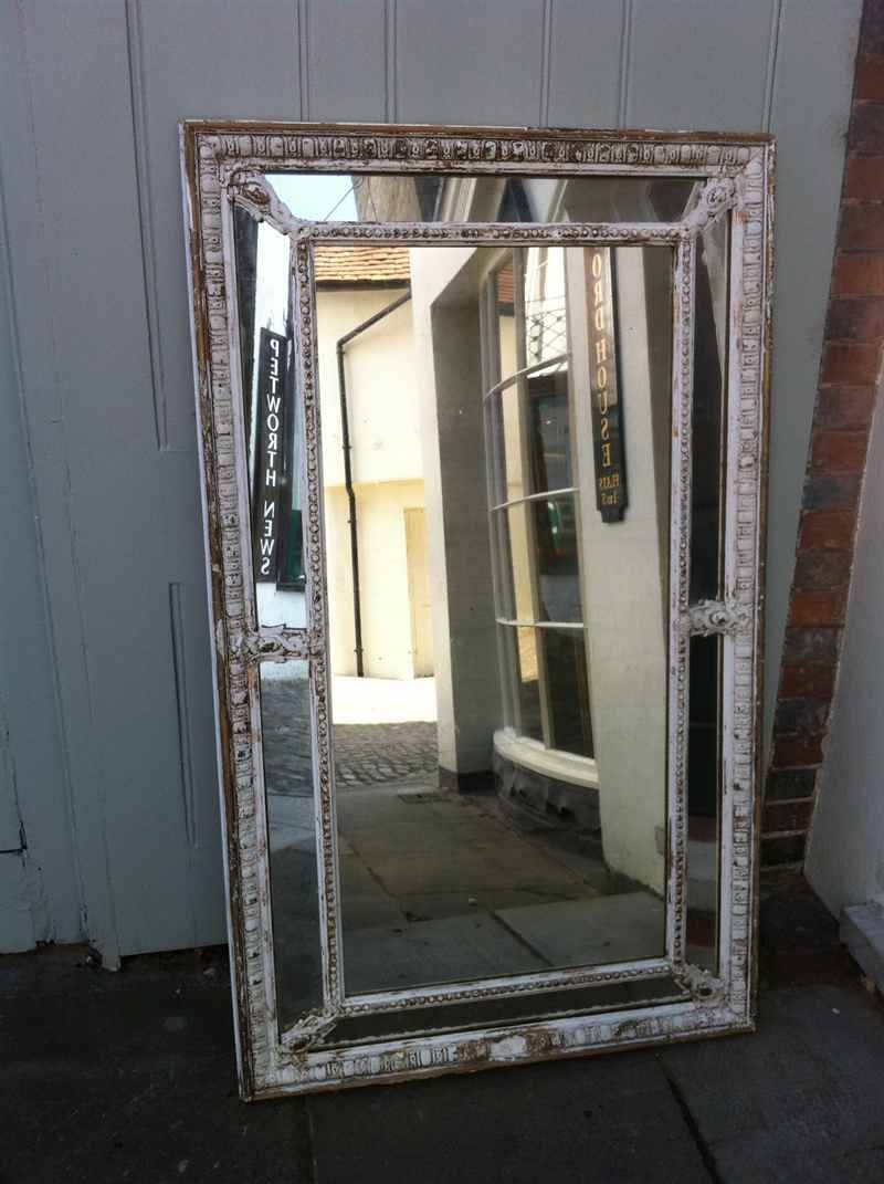 Large Early 19Th Century French Original Painted Distressed Wall Pertaining To French Wall Mirrors (View 12 of 25)
